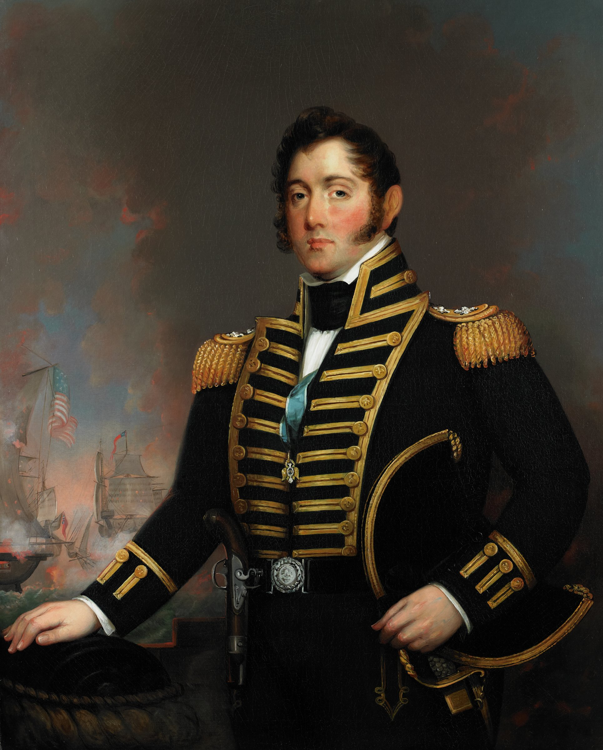 Bust-length portrait of Commodore Oliver Hazard Perry; decorated in military uniform and is adorned with a badge of the Society of Cincinnati; holds hat under his left arm and rests his right hand on raised object in the foreground; in the left background, a tumultuous battle between a British and an American ship takes place, the locale of which is supposedly Lake Erie.