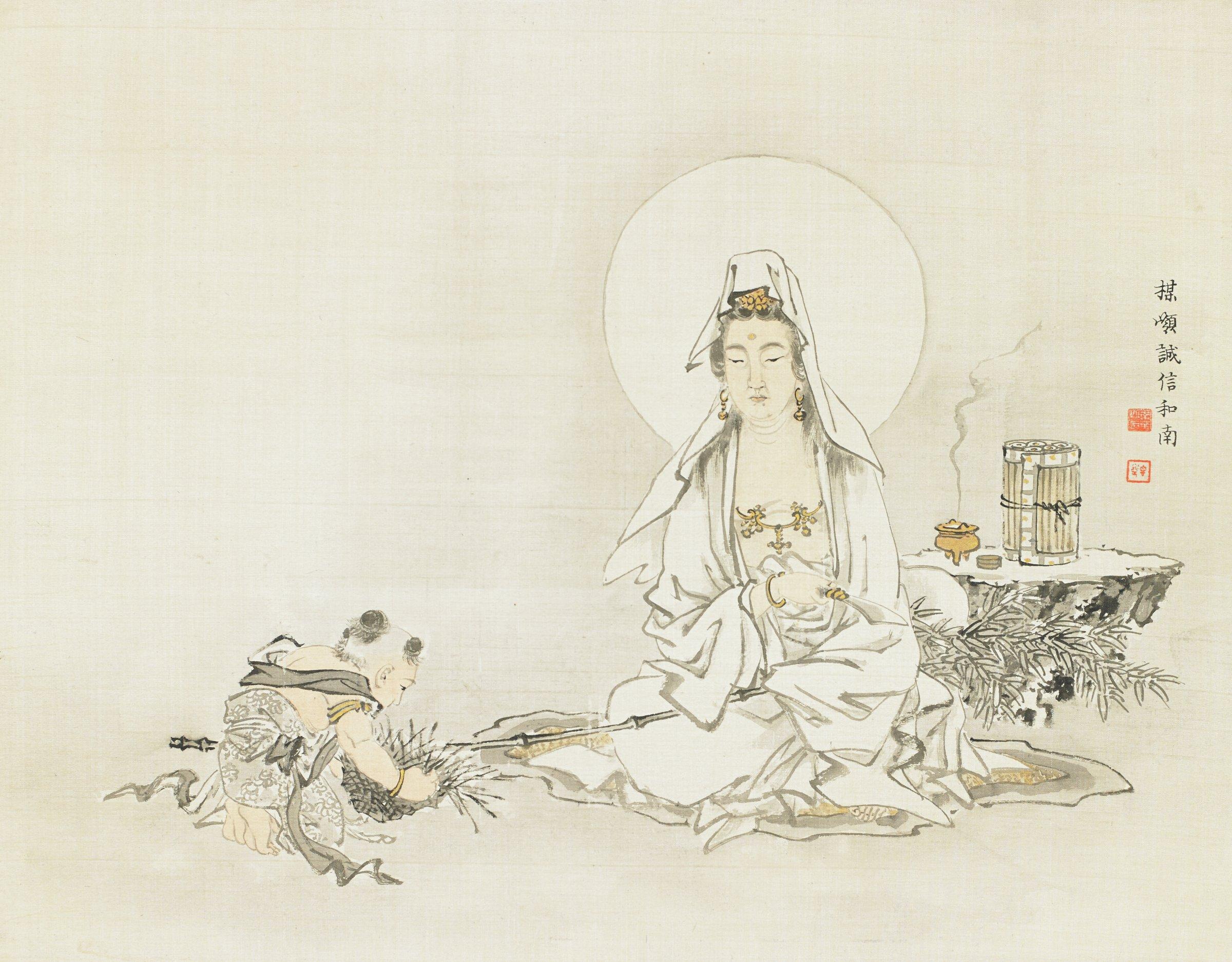 Sudhana Visits Avalokitesvara, Kono Bairei, ink and color on silk