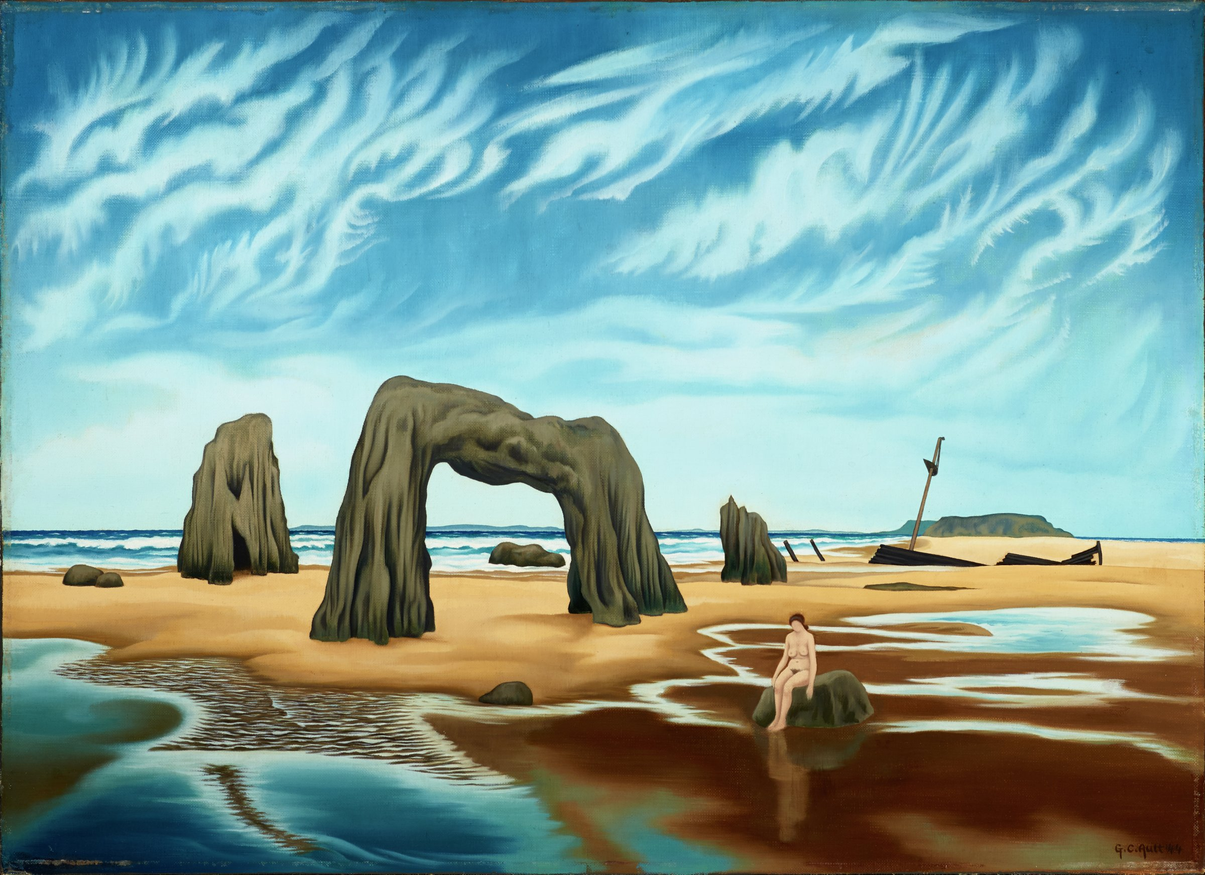 This painting represents a beach scene. Rocks stand on a sand bar in the middle ground, including a prominently placed arched rock at the center of the canvas. To the right of the arched rock, a woman sits on another rock within calm water and behind her appears to be the remains of a wrecked boat. Calm water spans the foreground of the painting, and distant waves are seen breaking on the ocean in the b ackground. Above the scene is a blue sky filled with distinct clouds. Touches of brown-yellow paint are also in the sky.
