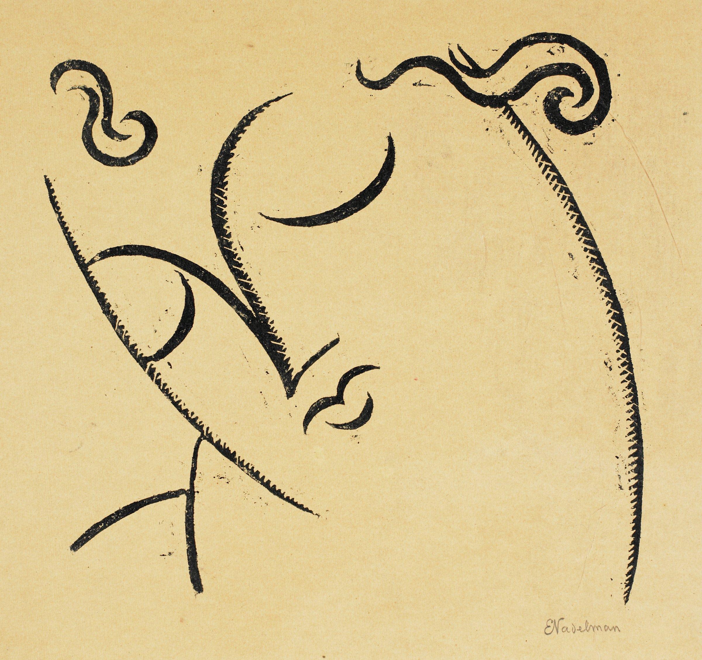 Head, Elie Nadelman, linocut on tan paper laid down on paperboard