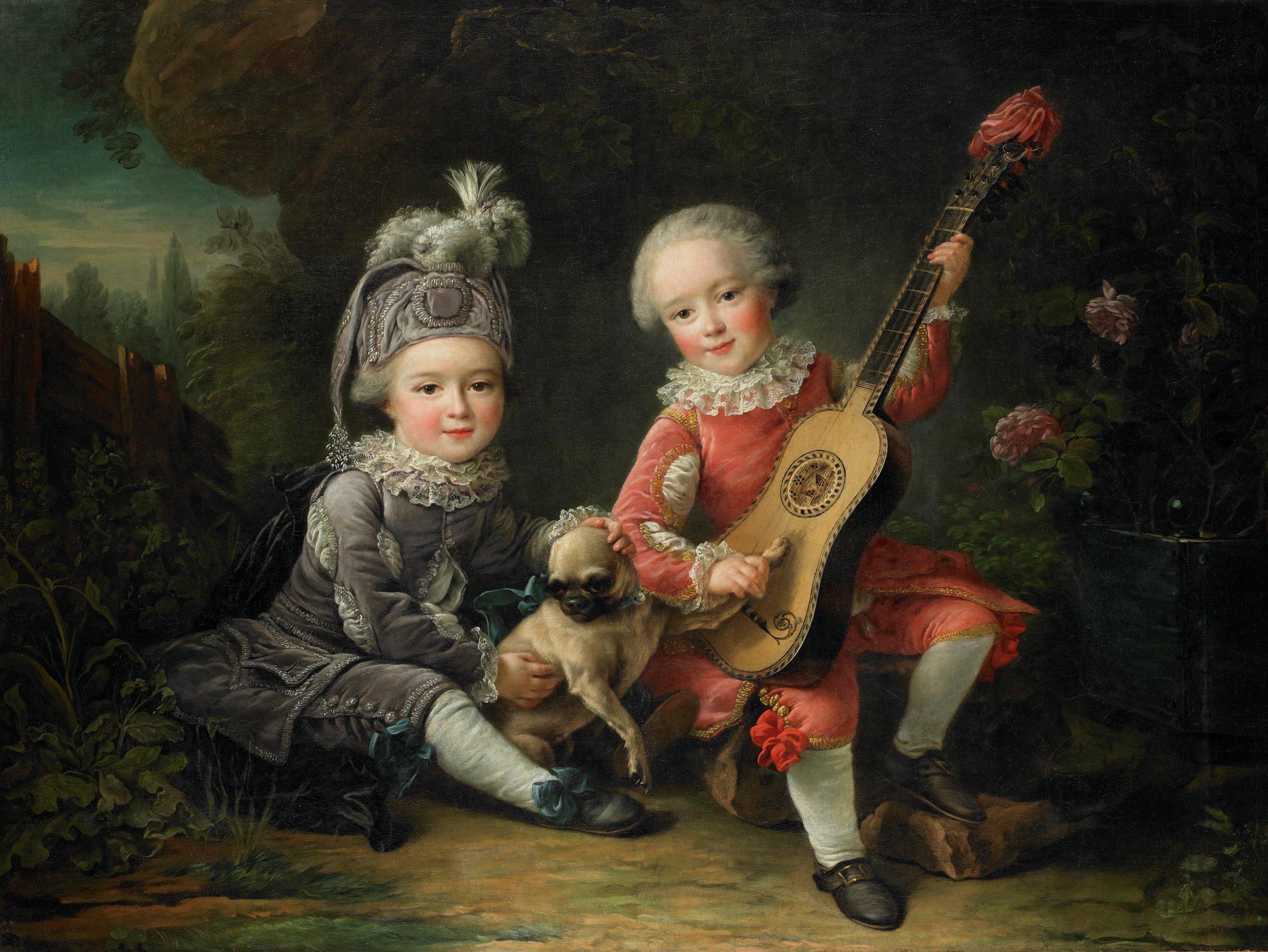Les Portraits de MM. de Béthune jouant avec un chien (Portraits of Marquis Béthune's Children Playing with a Dog), François-Hubert Drouais, oil on canvas