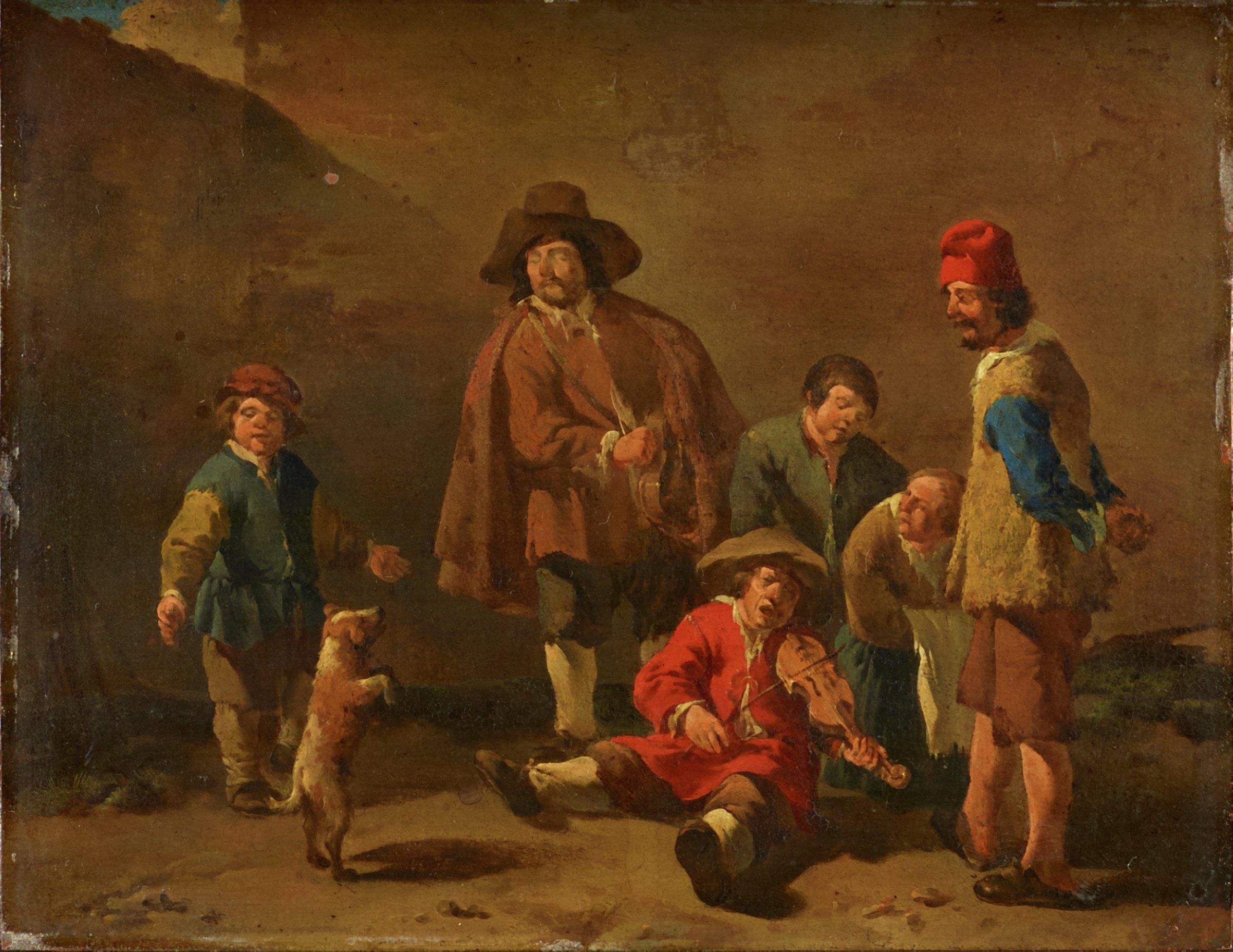 Italian Itinerant Musicians, Karel Dujardin, oil on copper