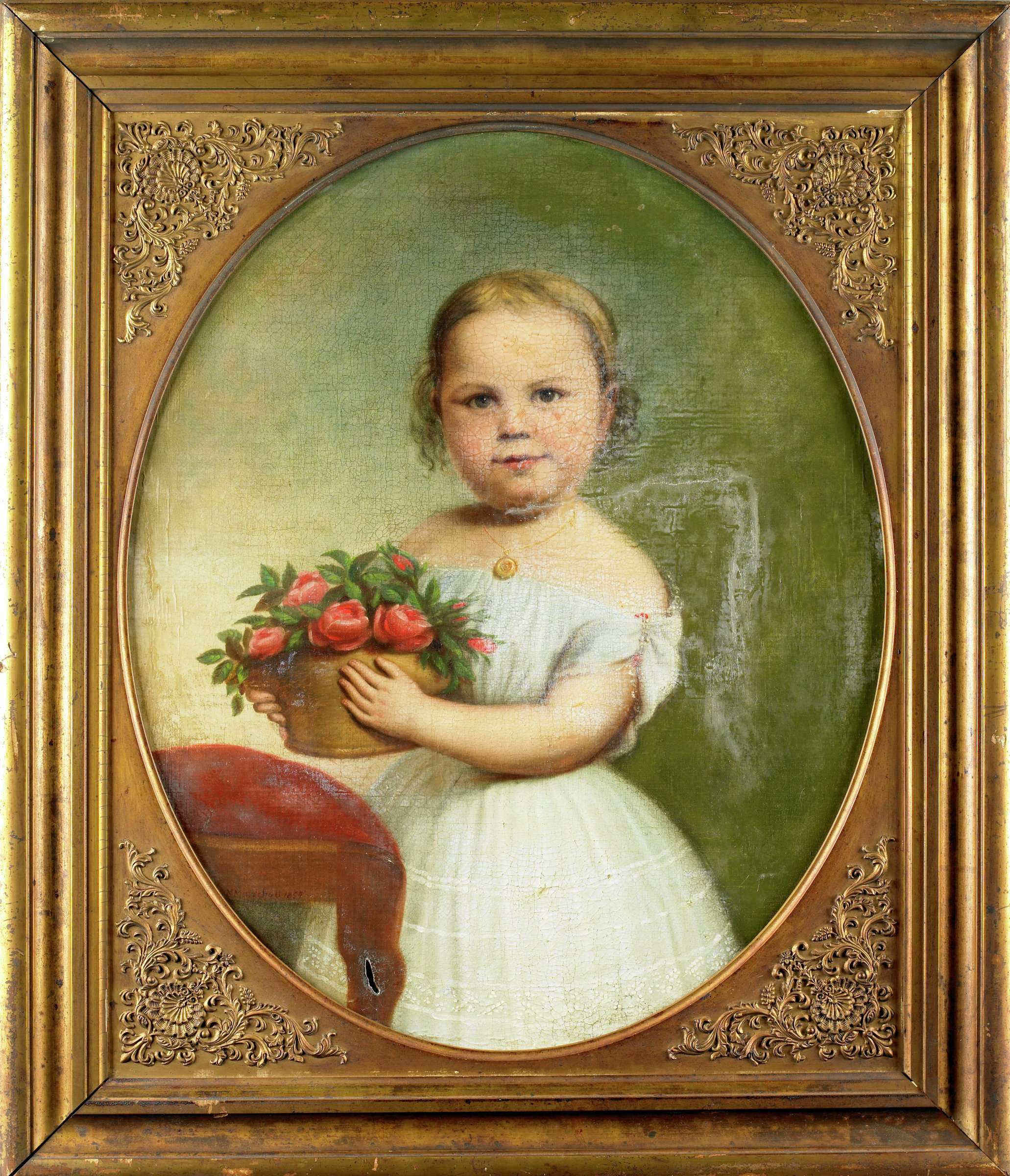 Three-quarter length portrait of girl with blonde hair, wearing a white dress, holding a basket of flowers. The seat and front legs of a red upholstered chair is visible at left.