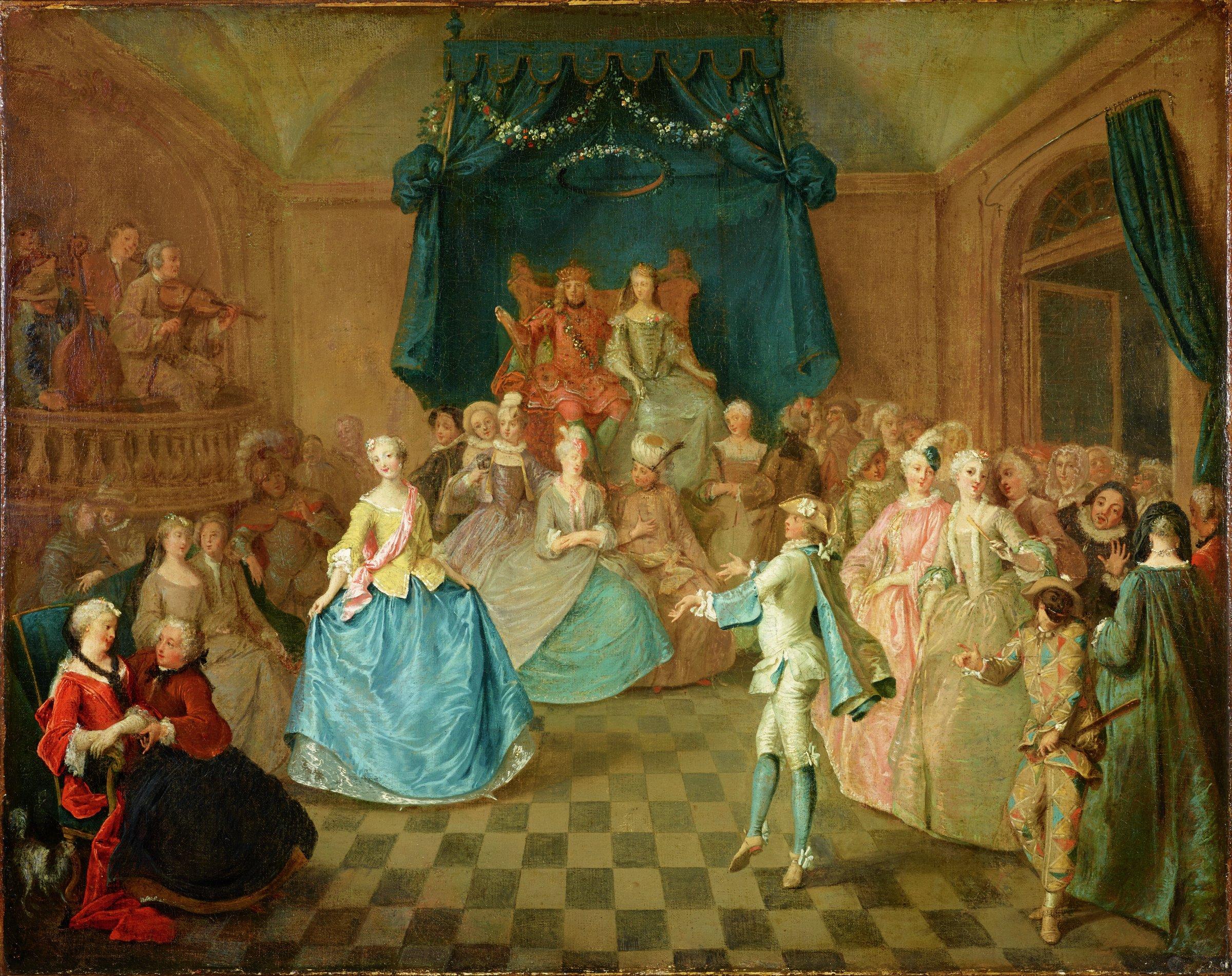 Court Dance, Follower of Gravelot, possibly Christian Wilhelm Ernst Dietrich, oil on canvas