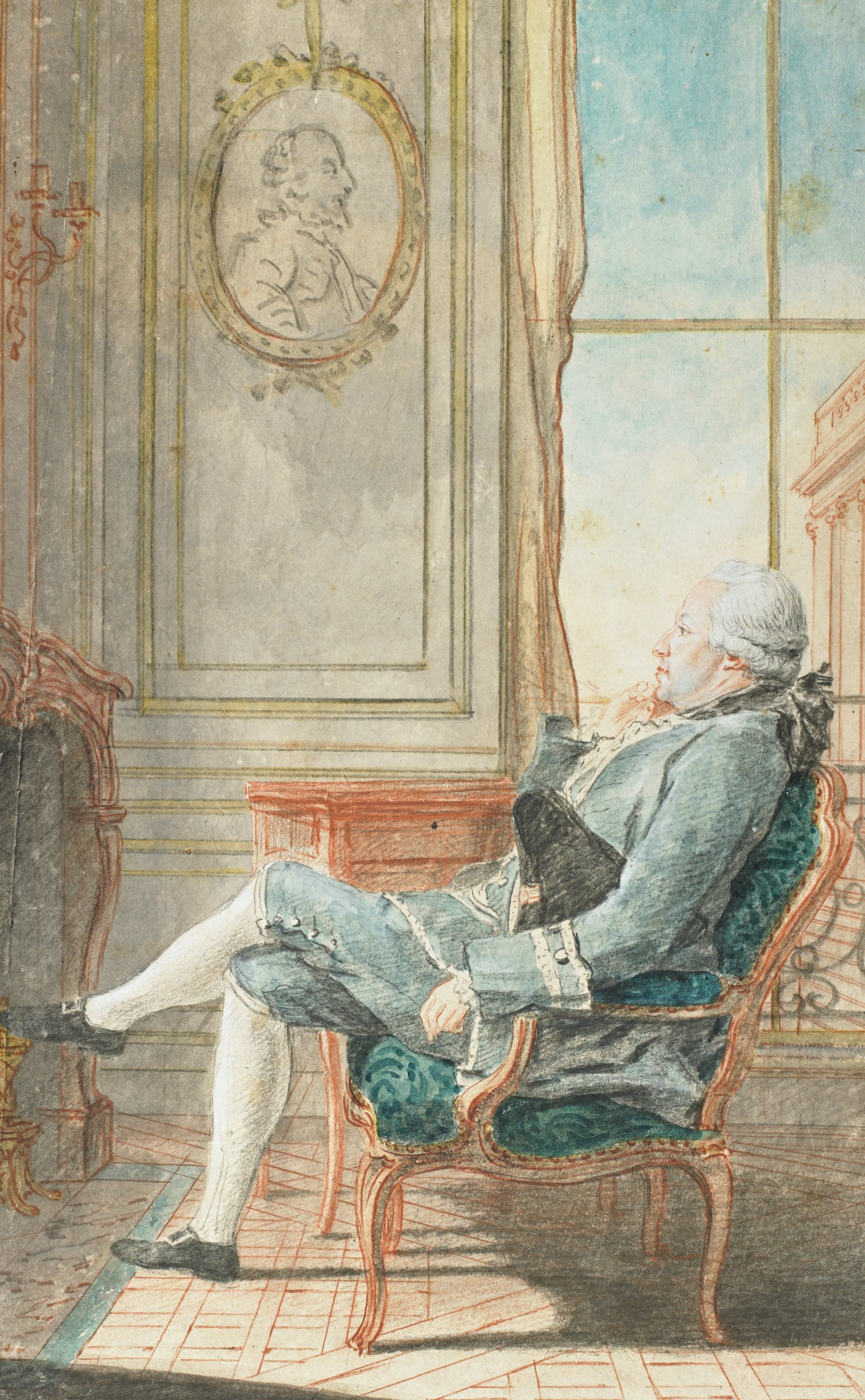 Seated man in a light blue jacket and pants, facing left, in an elegant interior setting. A black tricorn hat is tucked under his left arm. He sits in an armchair with blue upholstery, in front of a window. Before him is a mantel, with a sconce and candles above. On the wall above him is an oval portrait of a man.