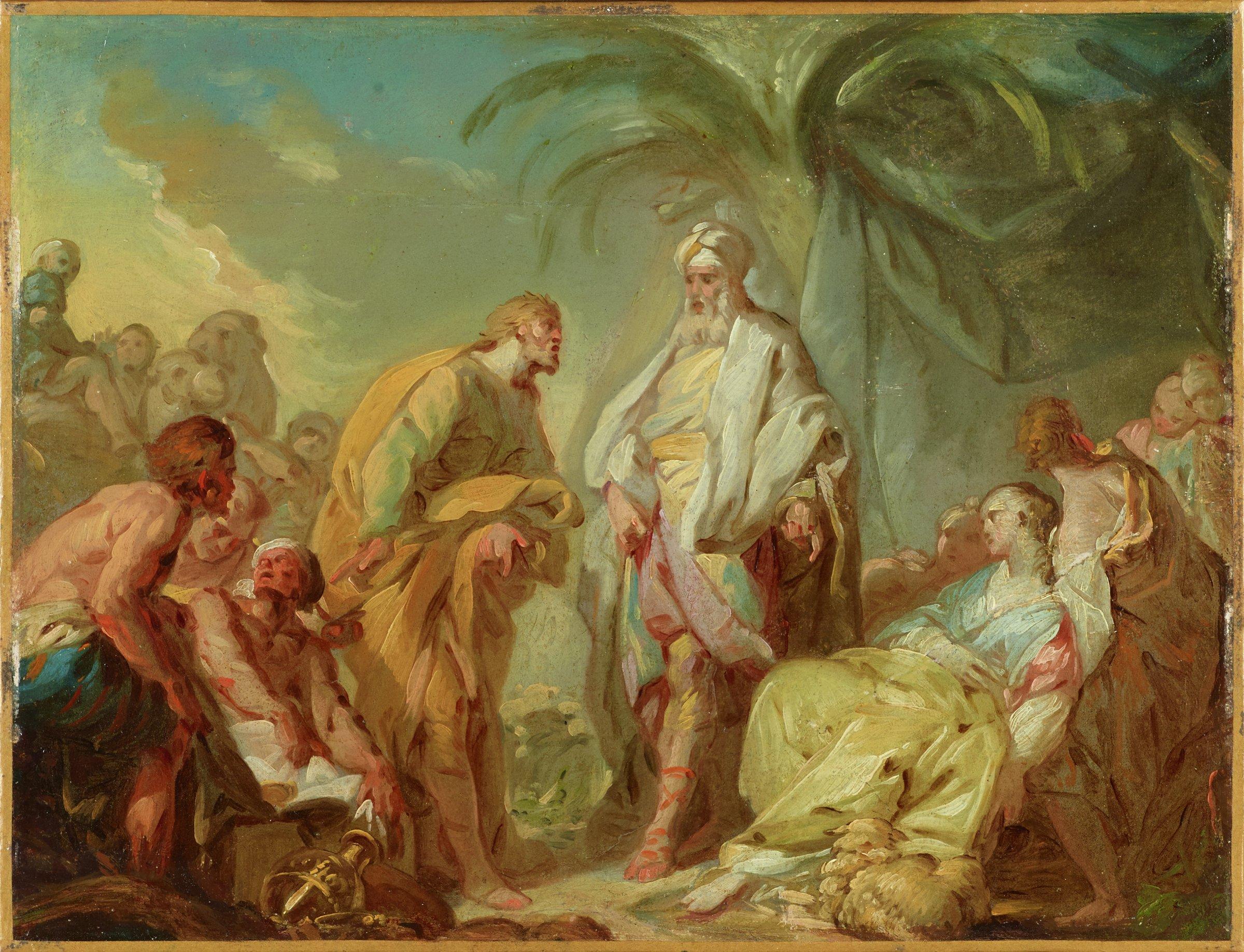 Laban and Rachel, Jean-Baptiste-Henri Deshays de Colleville, oil on paper mounted on canvas