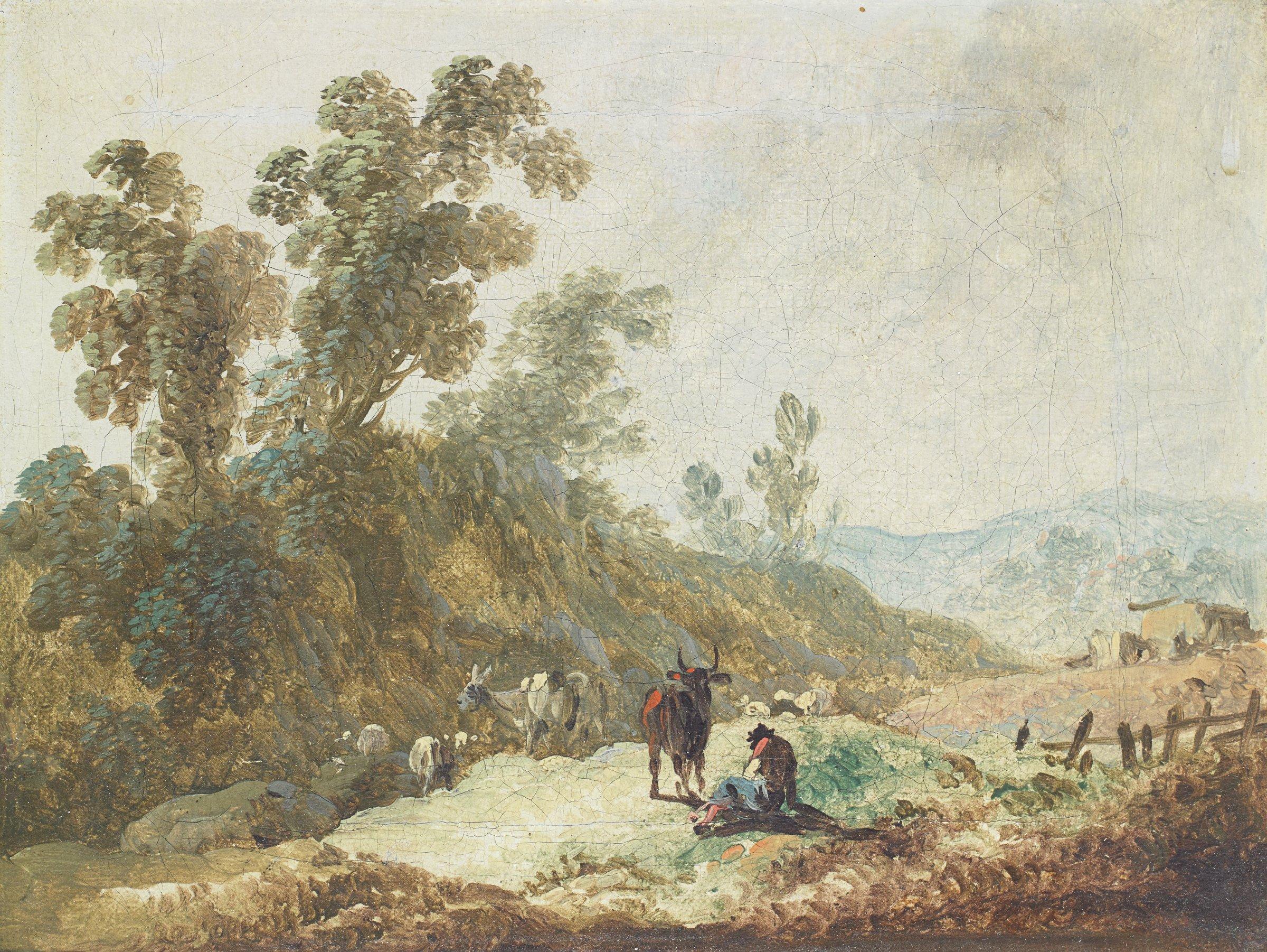 Paysage montagneux (Pastoral Landscape), Jean-Baptiste Pillement, oil on canvas