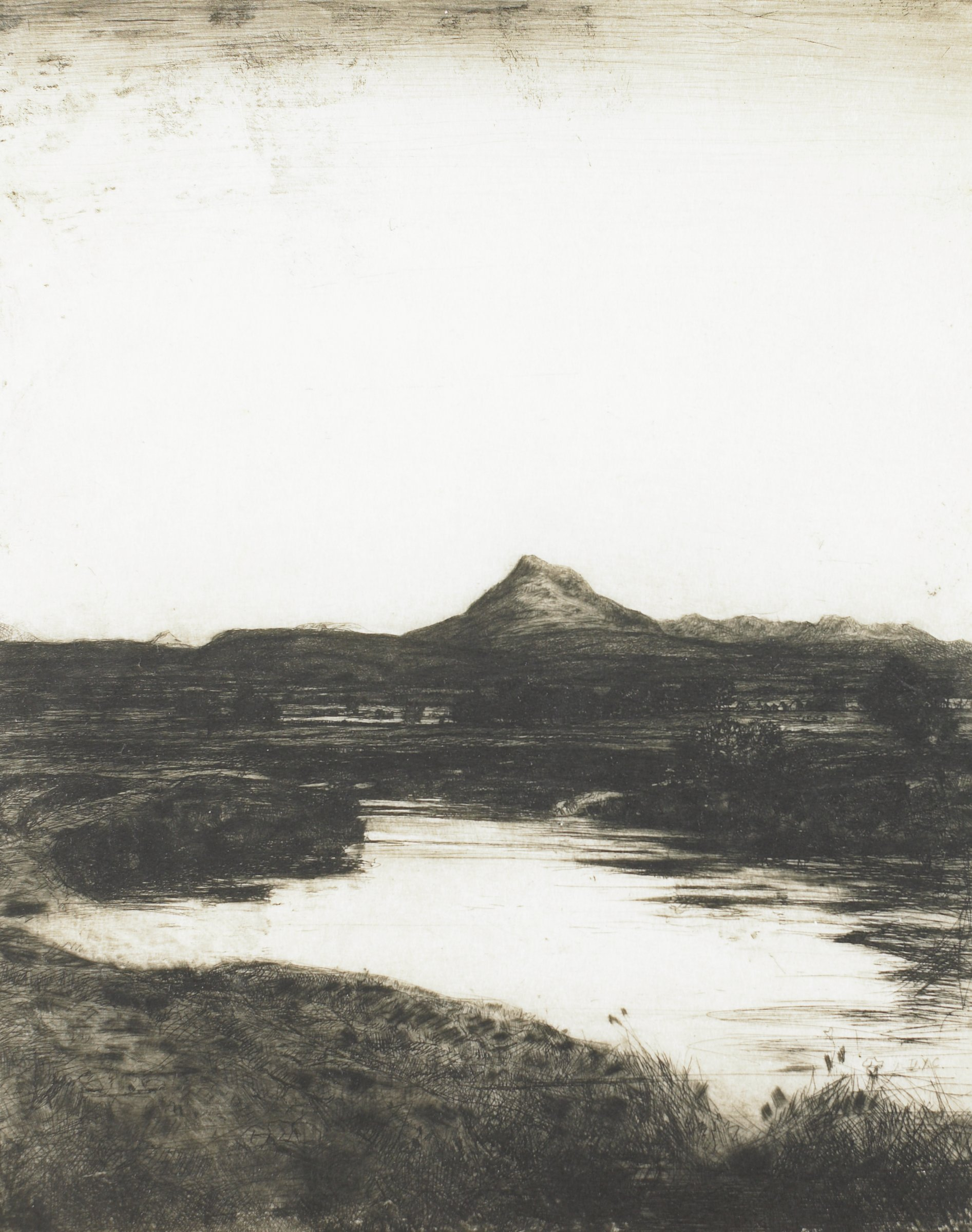 A broad landscape scene is depicted. The foreground is primarily flat with groves of trees scattered throughout the landscape, and the background is poulated with mountains.