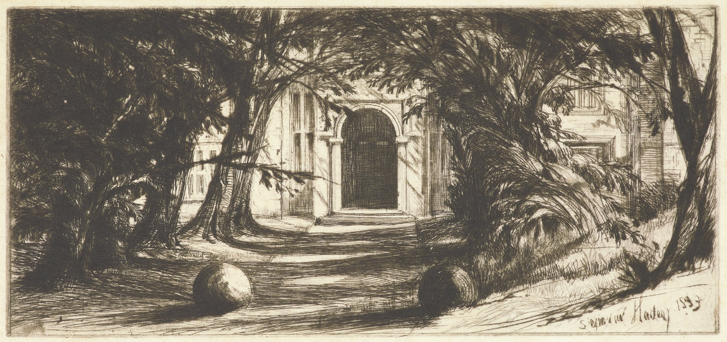 A path between trees leads to an arched doorway.