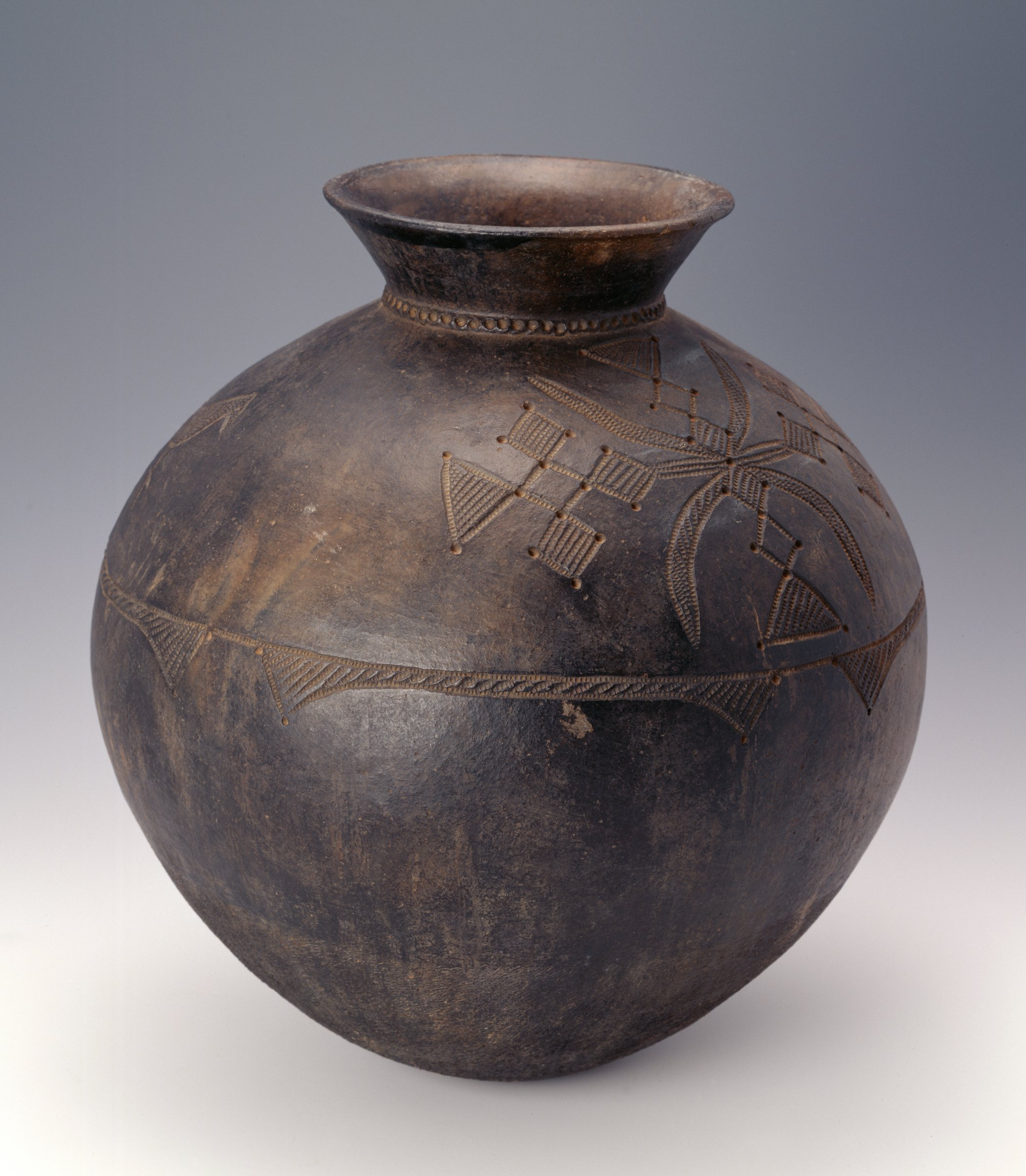 Dark brown, round vessel has narrow neck and flaring rim; shoulder has lizard and bird one one side, abstract pattern with diamonds and triangles on other.