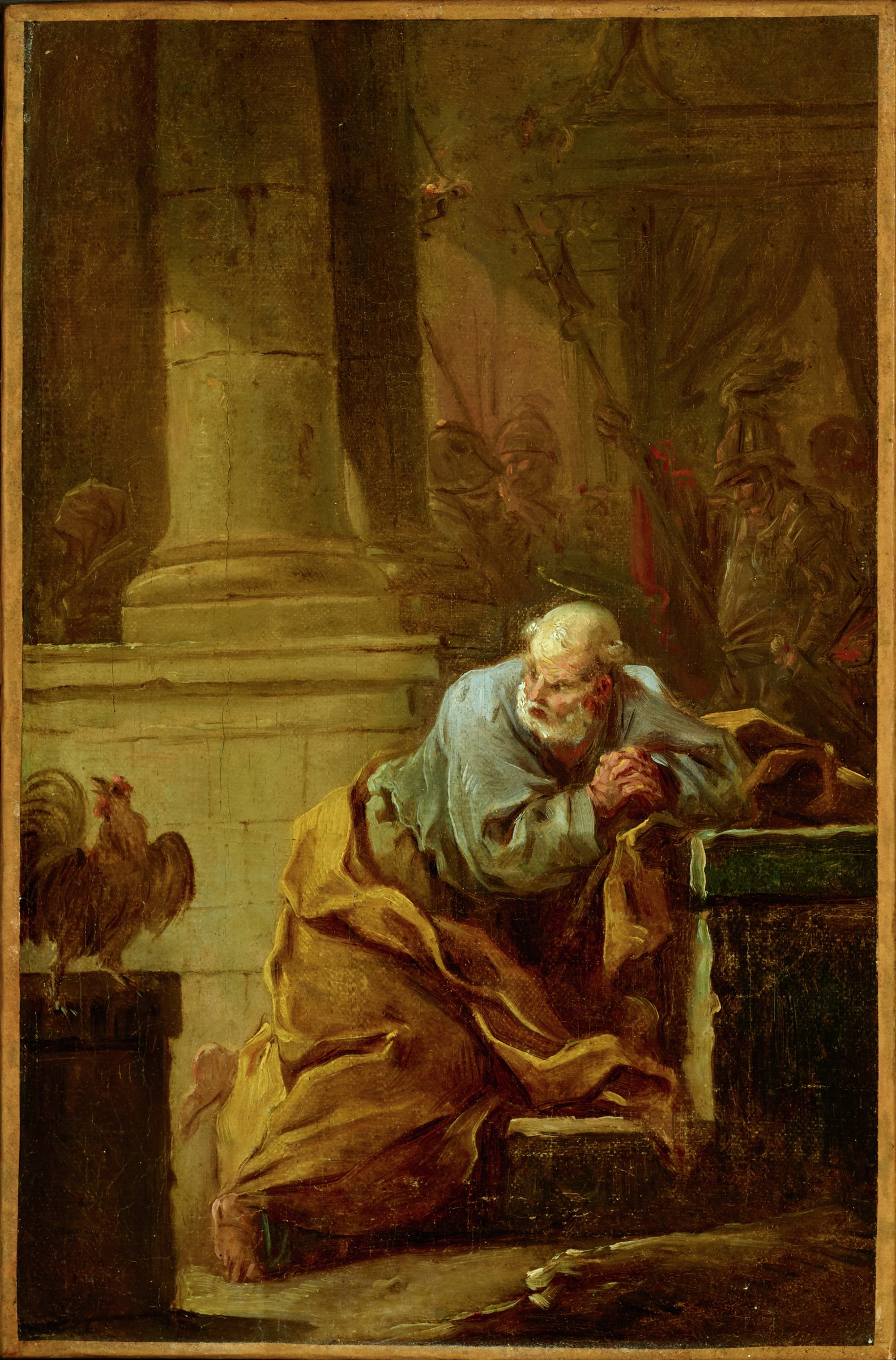 While kneeling in prayer, St. Peter turns at the sound of a cock crowing. In the background soldiers are relaxing in a columned structure.