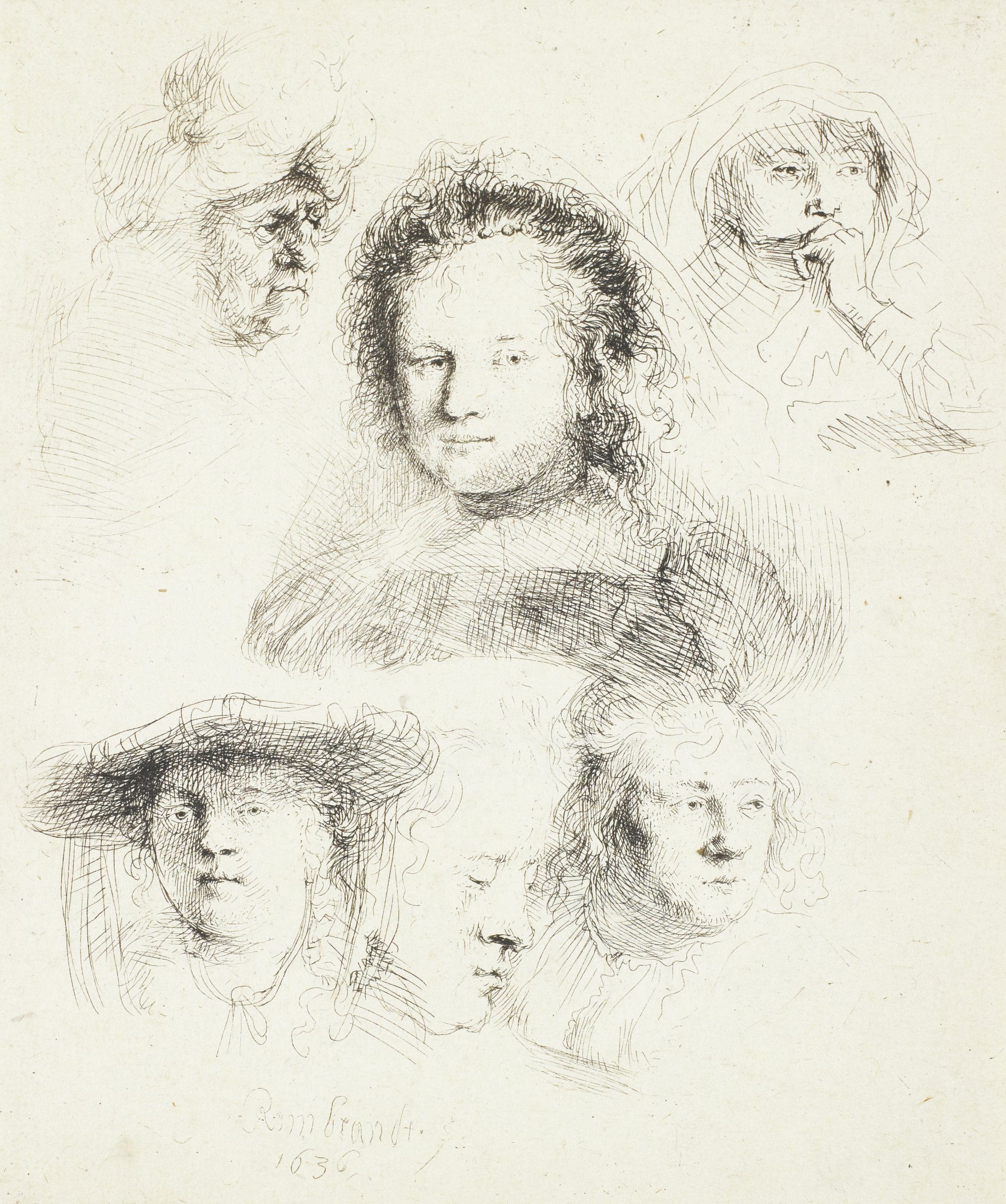 Studies of six different figures in various expressions.