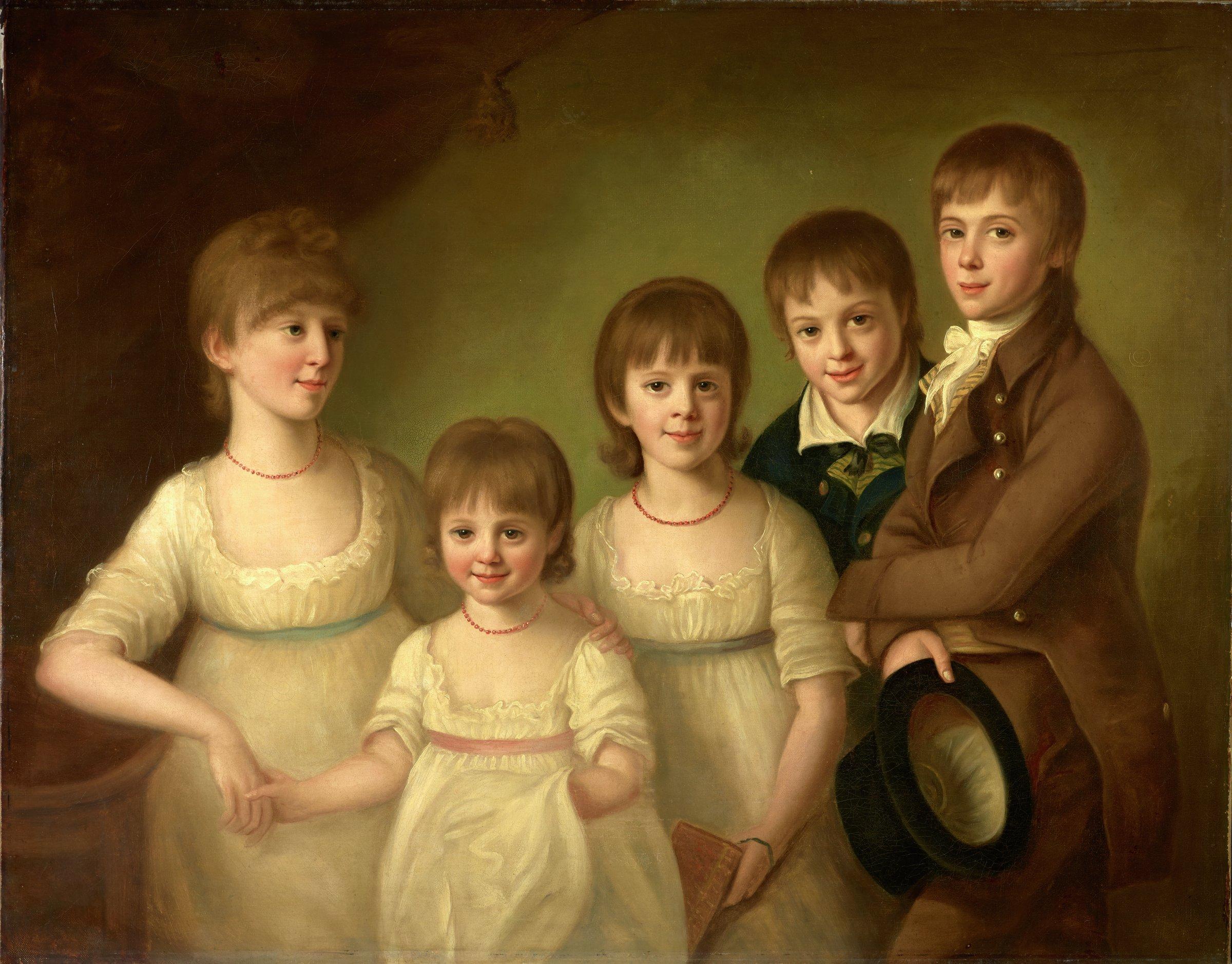 Portrait of Five Children, Adam Buck, oil on canvas