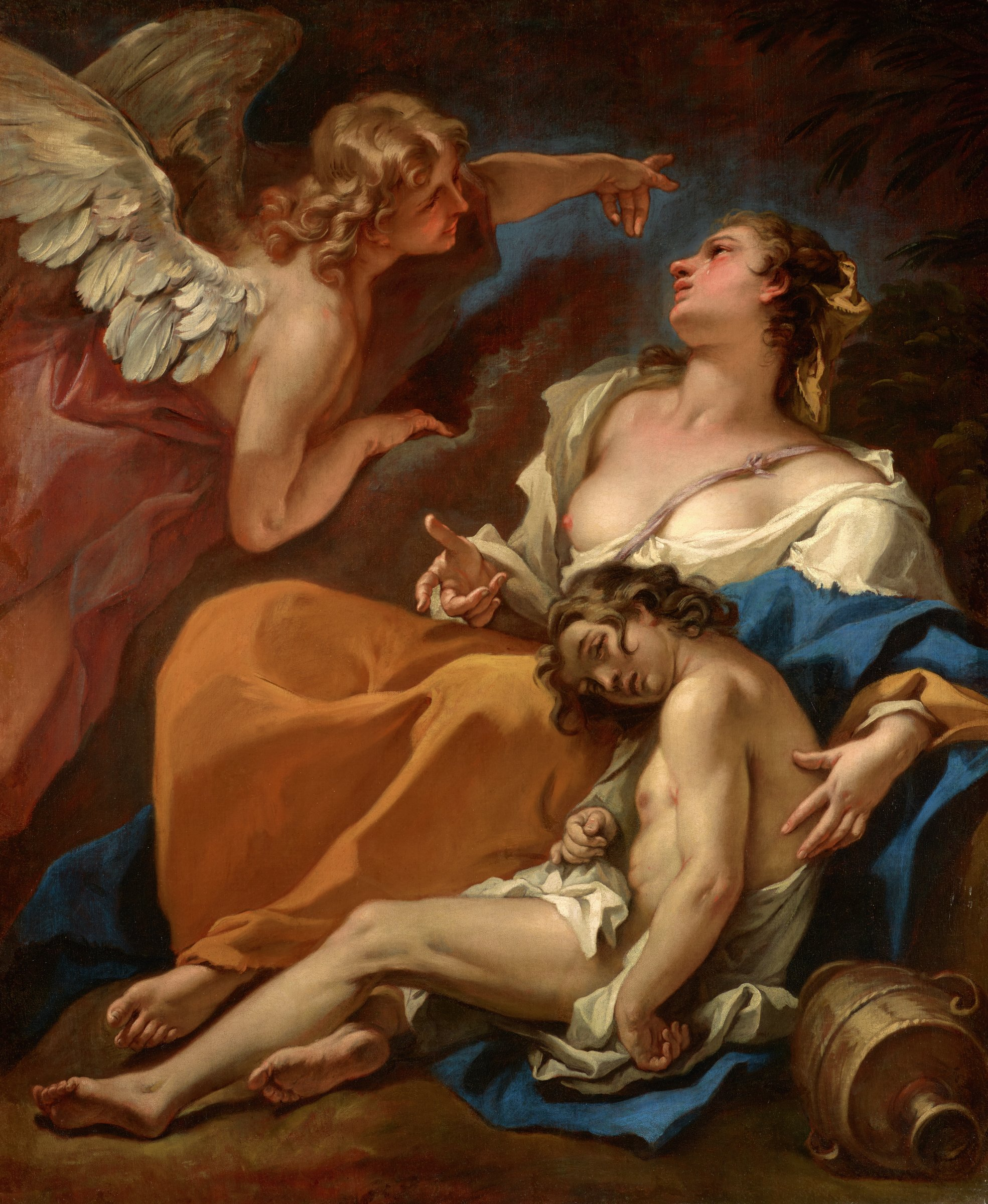 Hagar and Ishmael Saved by the Angel, Sebastiano Ricci, oil on canvas