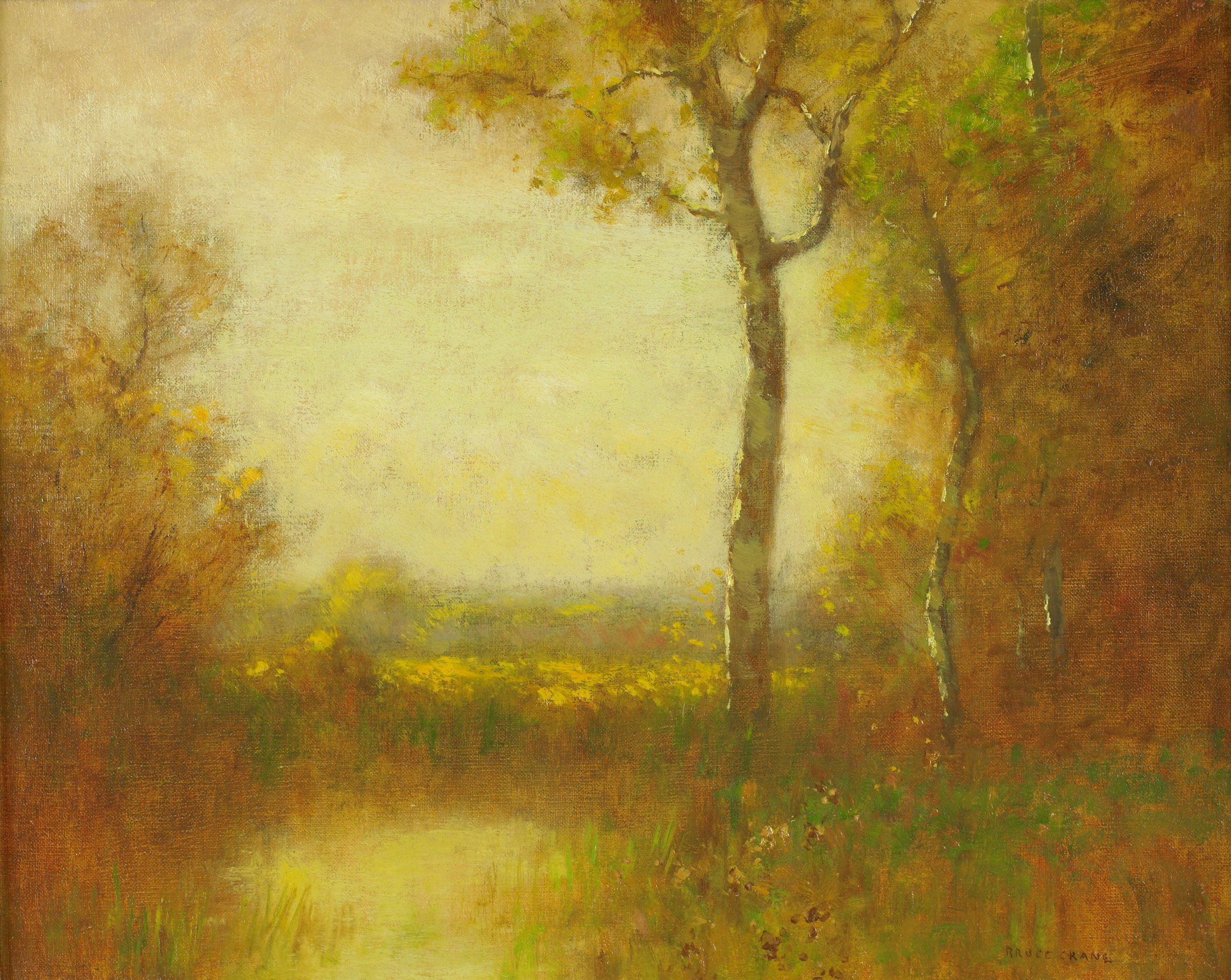 Autumnal scene with rich gold, brown, and dark green coloration. Pond at left; tree in center of composition; wooded area at right.