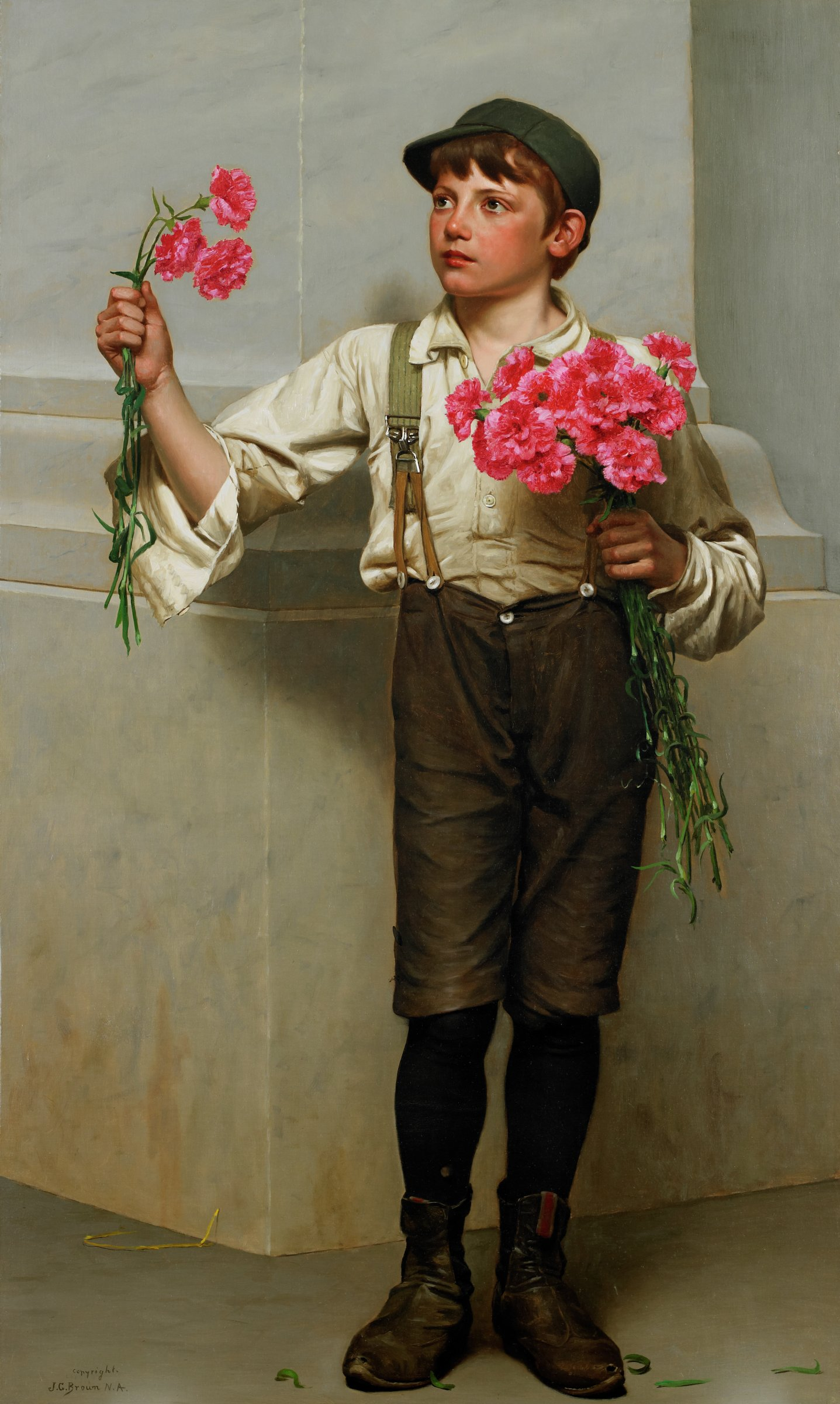 This painting represents a boy standing against the corner of a building, holding pink carnations. In his left hand is a bouquet, and in his right hand are three flowers. He wears a cap, a white shirt with the collar and cuffs open, suspenders, brown breeches, black stockings, and black boots. Leaves from the carnations surround his feet.