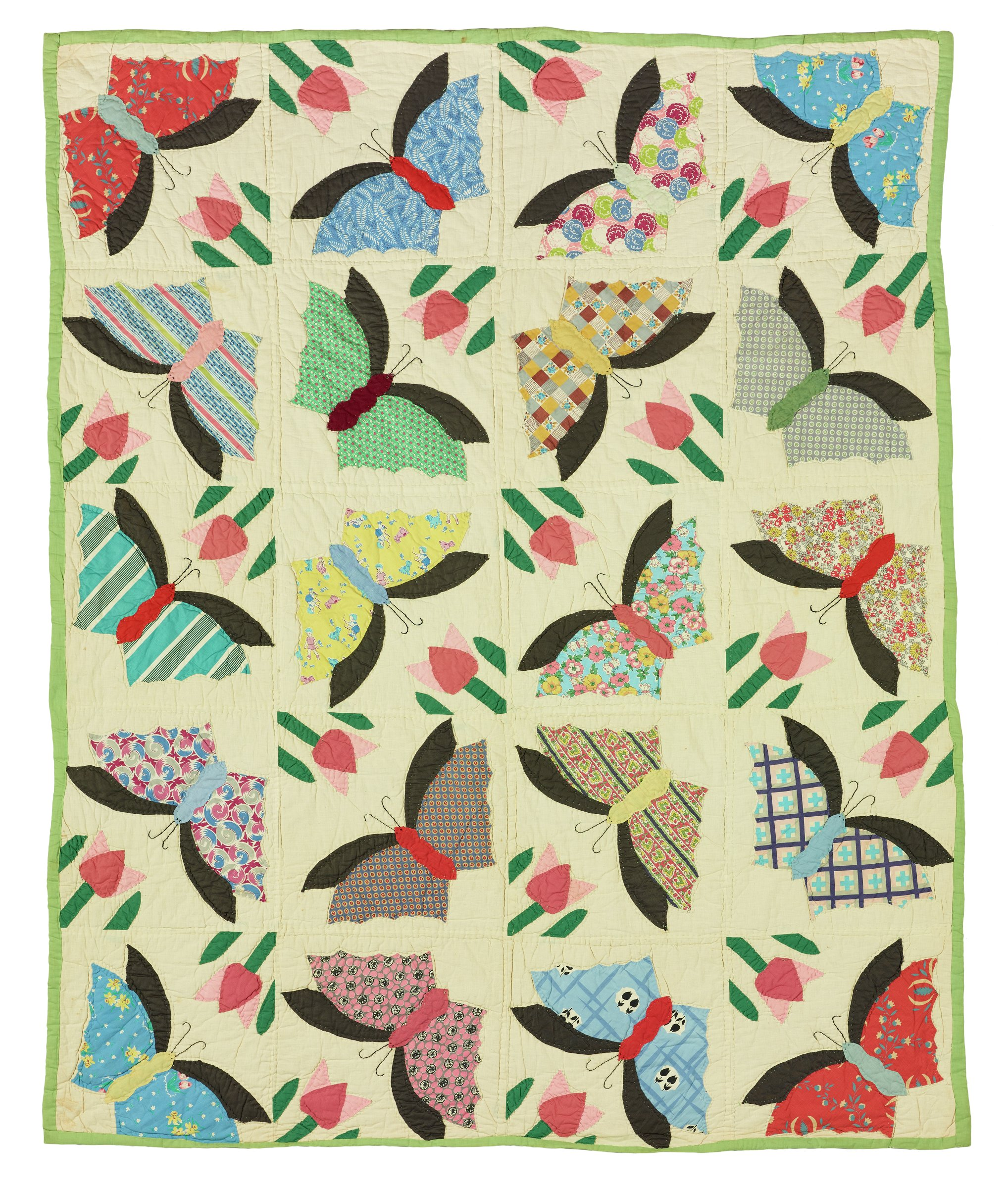 """Large, rectangular quilt made of cotton feed sacks in the """"Butterfly"""" pattern, pieced together in a grid of 20 blocks of white fabric edged in green, the center of each block with appliqued and embroidered butterflies in a variety of colorful patterns."""