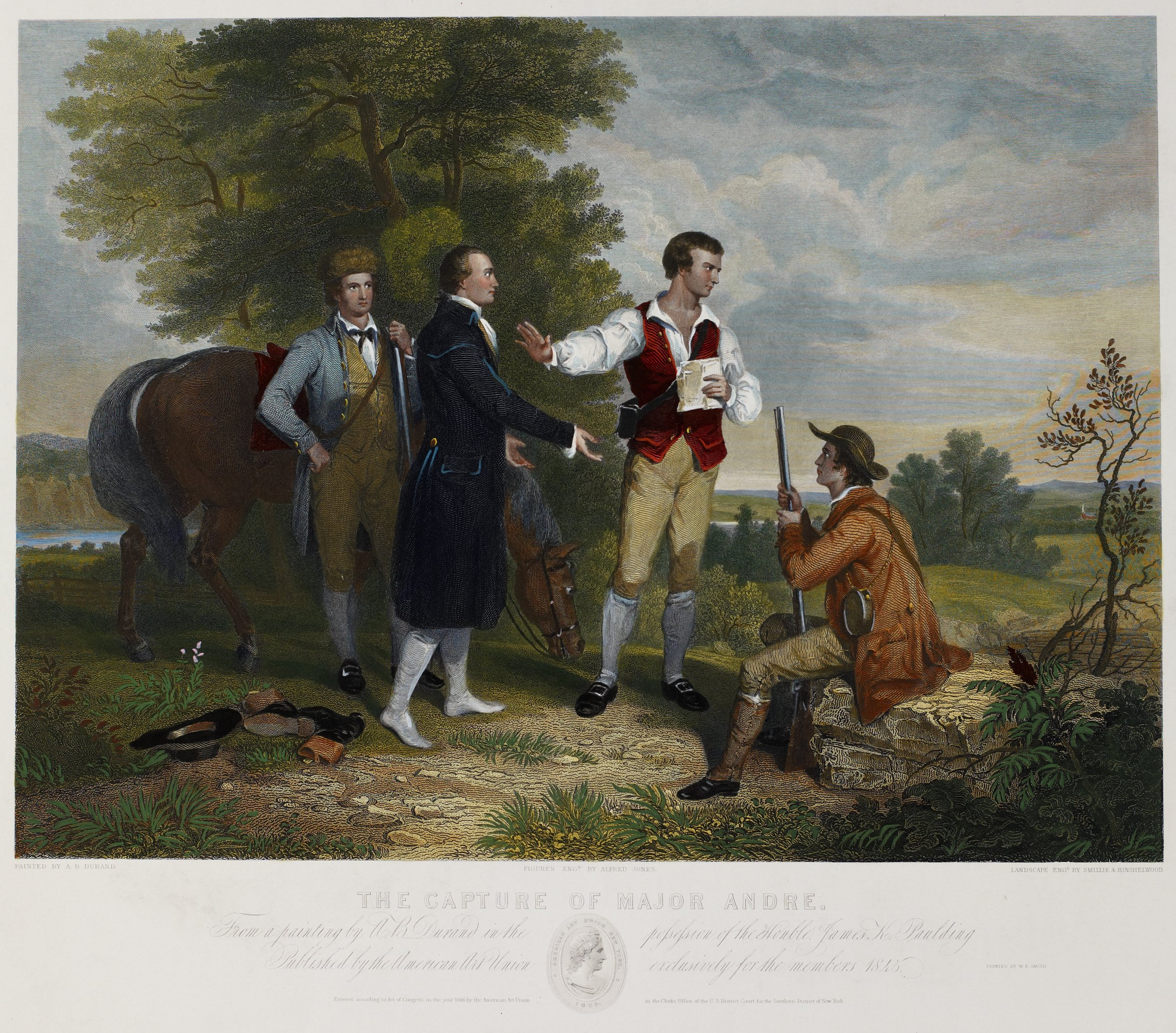 The Capture of Major André, From a painting by Asher Brown Durand, Figures engraved by Alfred Jones, Landscape engraved by James Smillie, and Robert Hinshelwood, Published by American Art-Union, hand-colored engraving