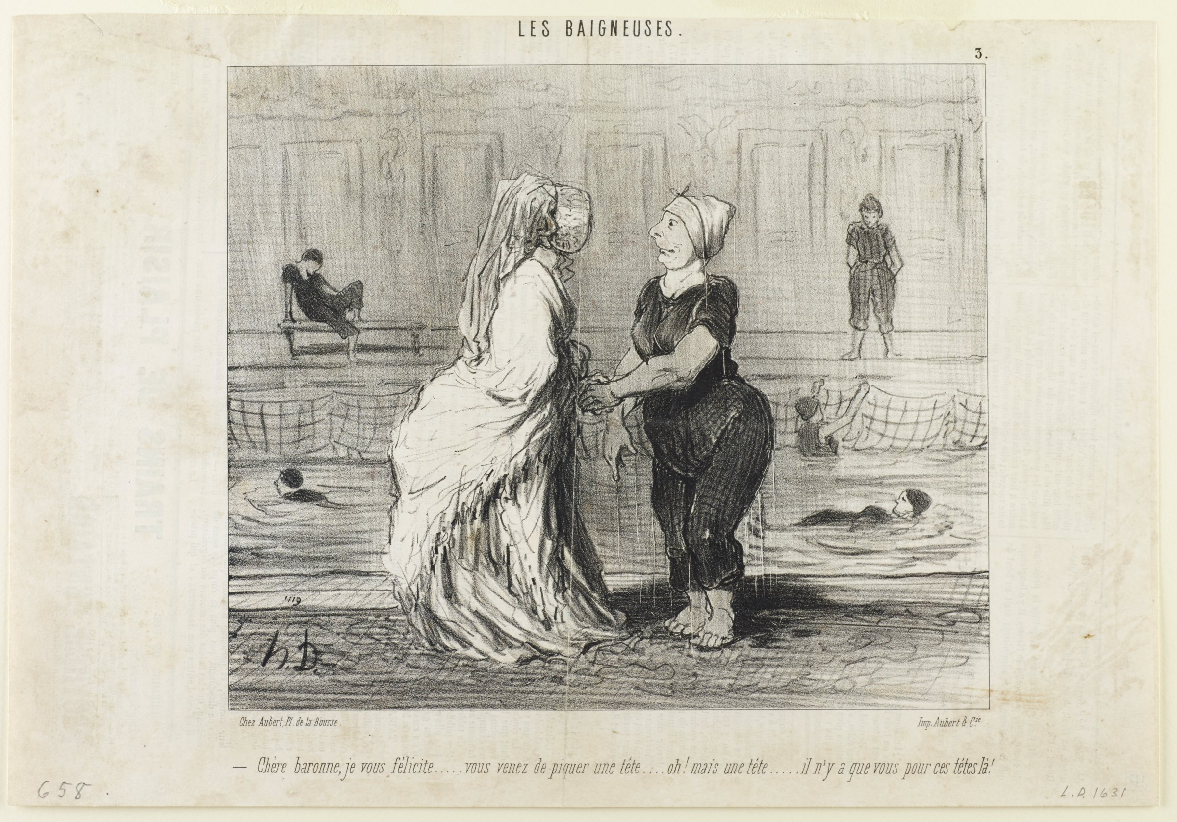 On the left, a lady stands wearing a full length ensemble. On the right, a lady stands in a bathing suit dripping with water. They are in conversation with one another. In the background is a swimming pool where other ladies in bathing suits are engaging in activity.