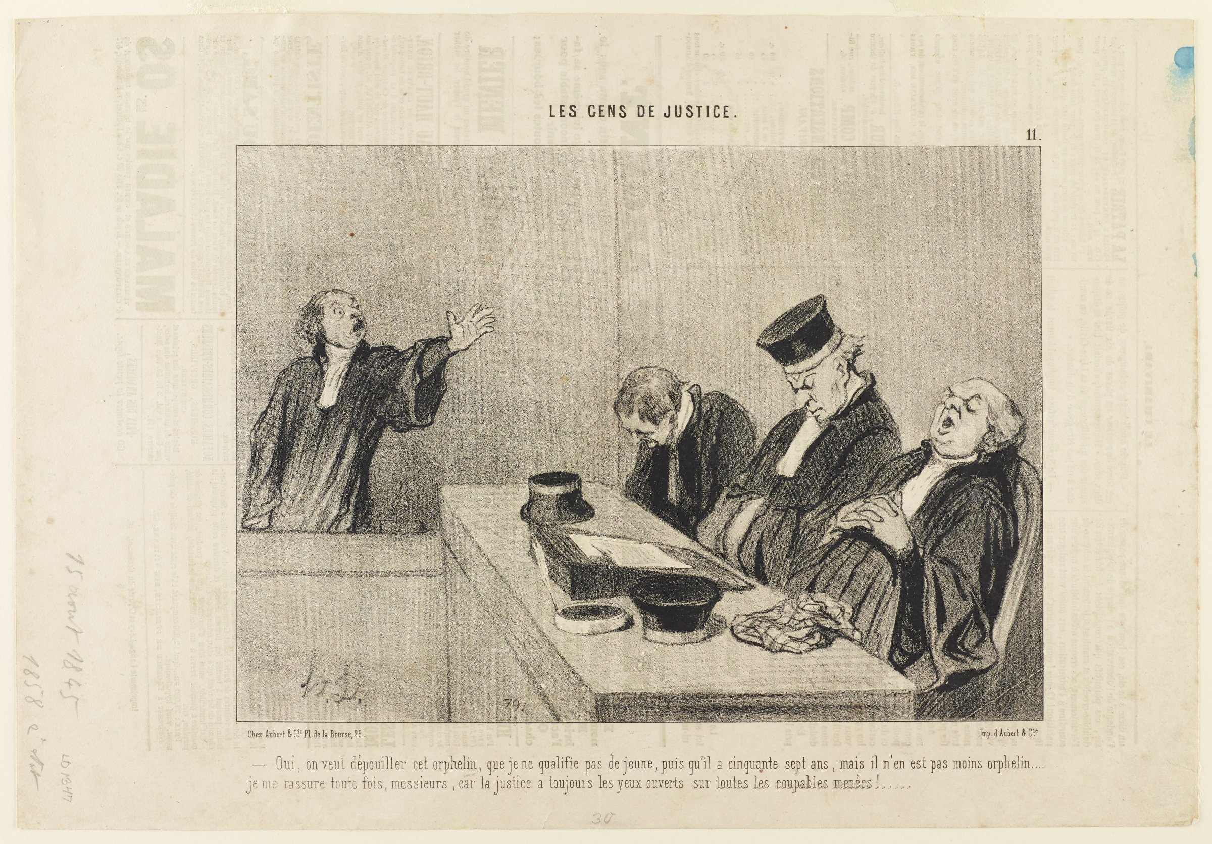 On the left, a man yells out to his fellow justices. On the right, three justices sit in their seats asleep.