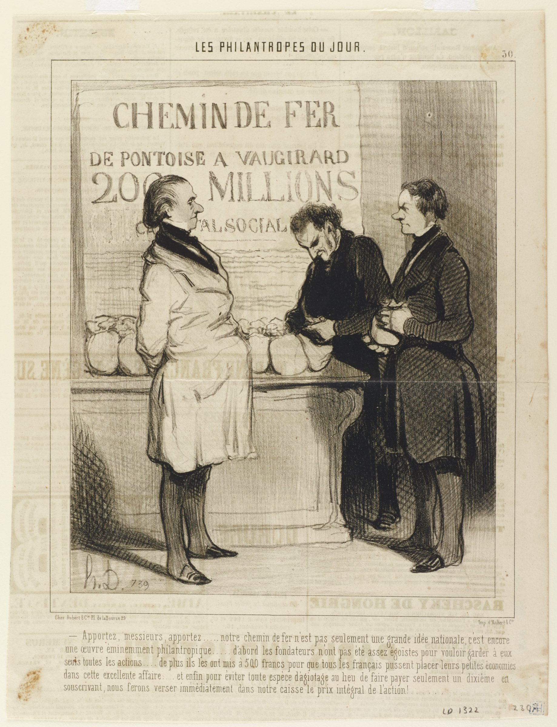 Three men in knee length coats stand around a booth full of small bags. A sign hangs above the booth.