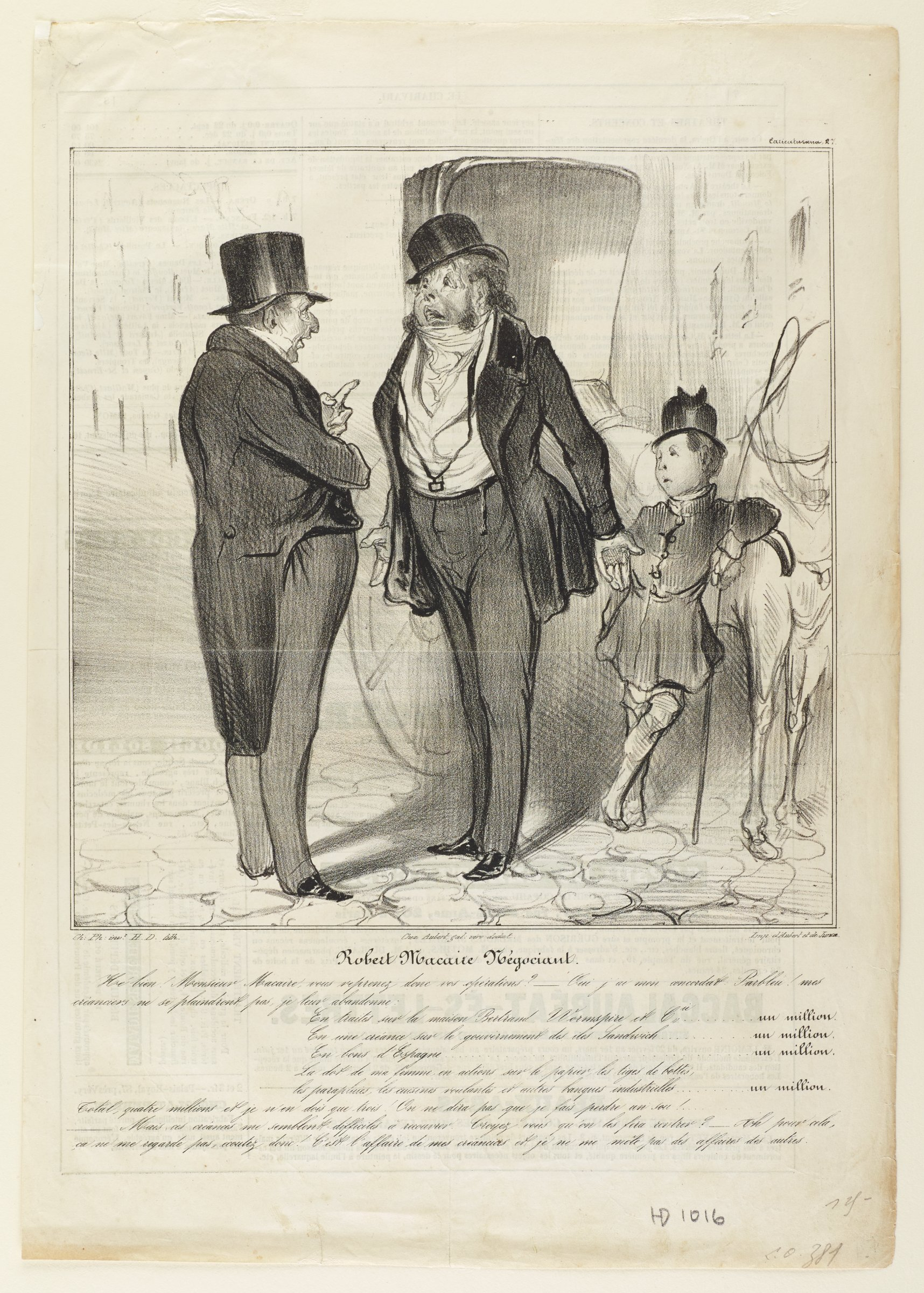 Two men in suits speak with one another. A young boy behind them leans on a horse and carriage.