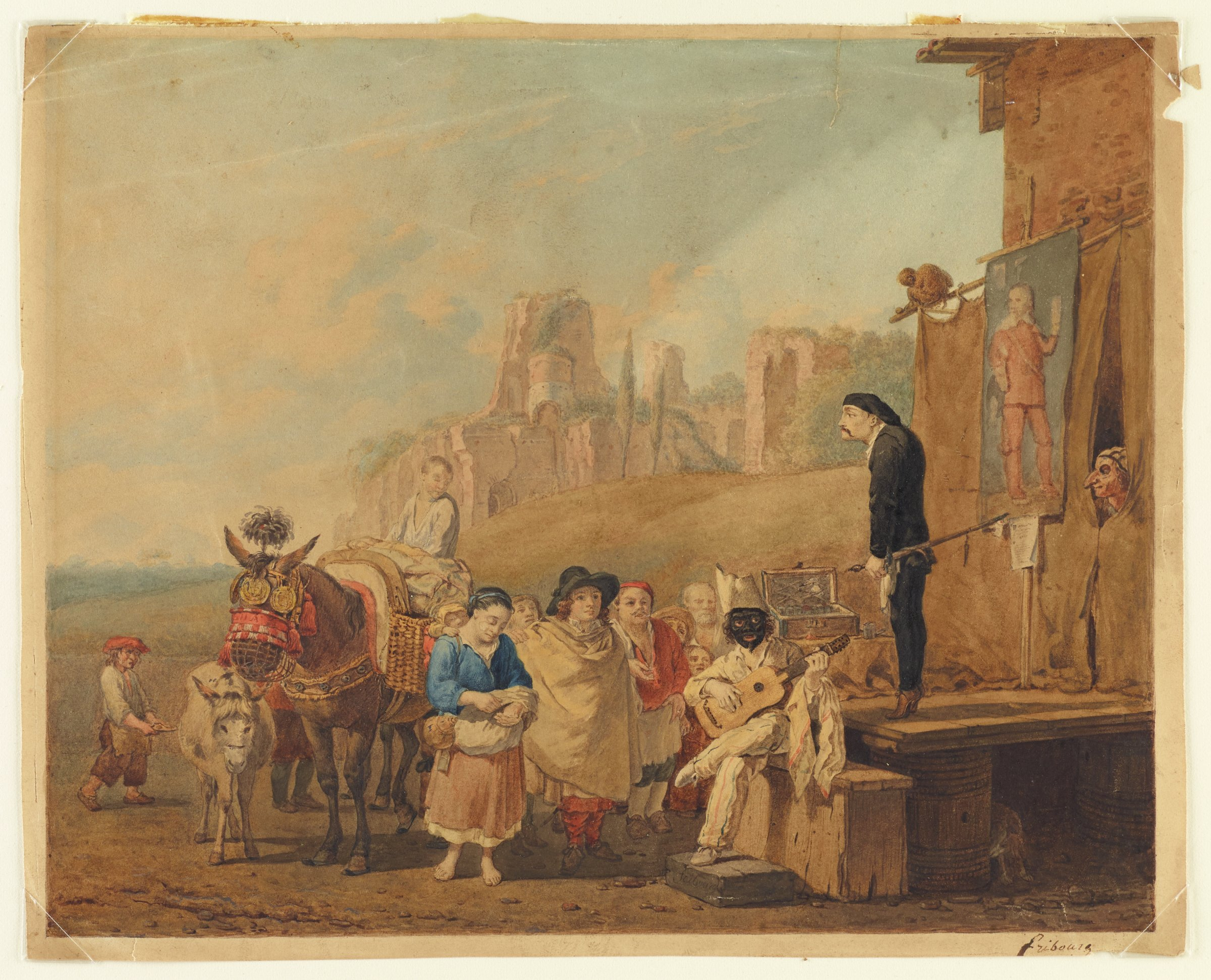 Villagers gather and listen to a man near the center of the composition in a black mask play guitar. A man dressed in all black stands on a small stage. Another man peaks out of a curtain on the right. In the background sits a city in ruins on a grassy hill.