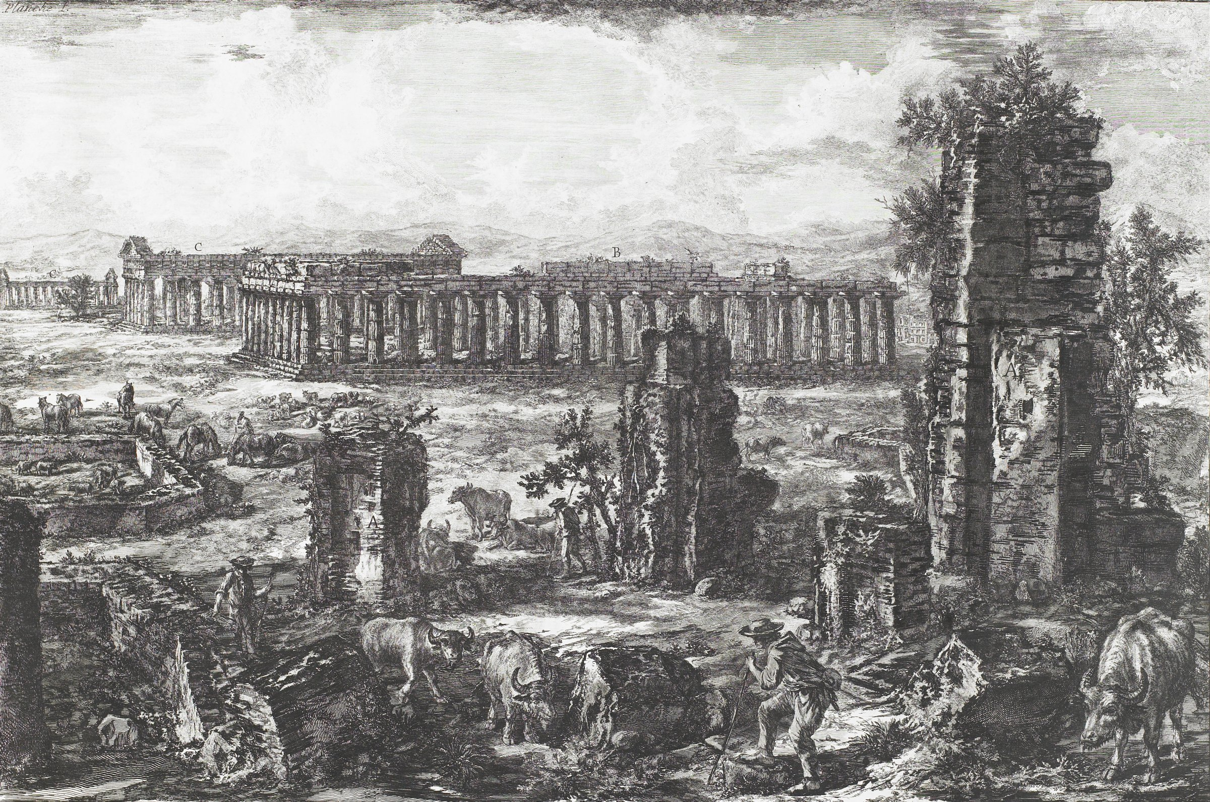 View of the Remains of the Walls and the Ancient City of Paestum, Giovanni Battista Piranesi, etching