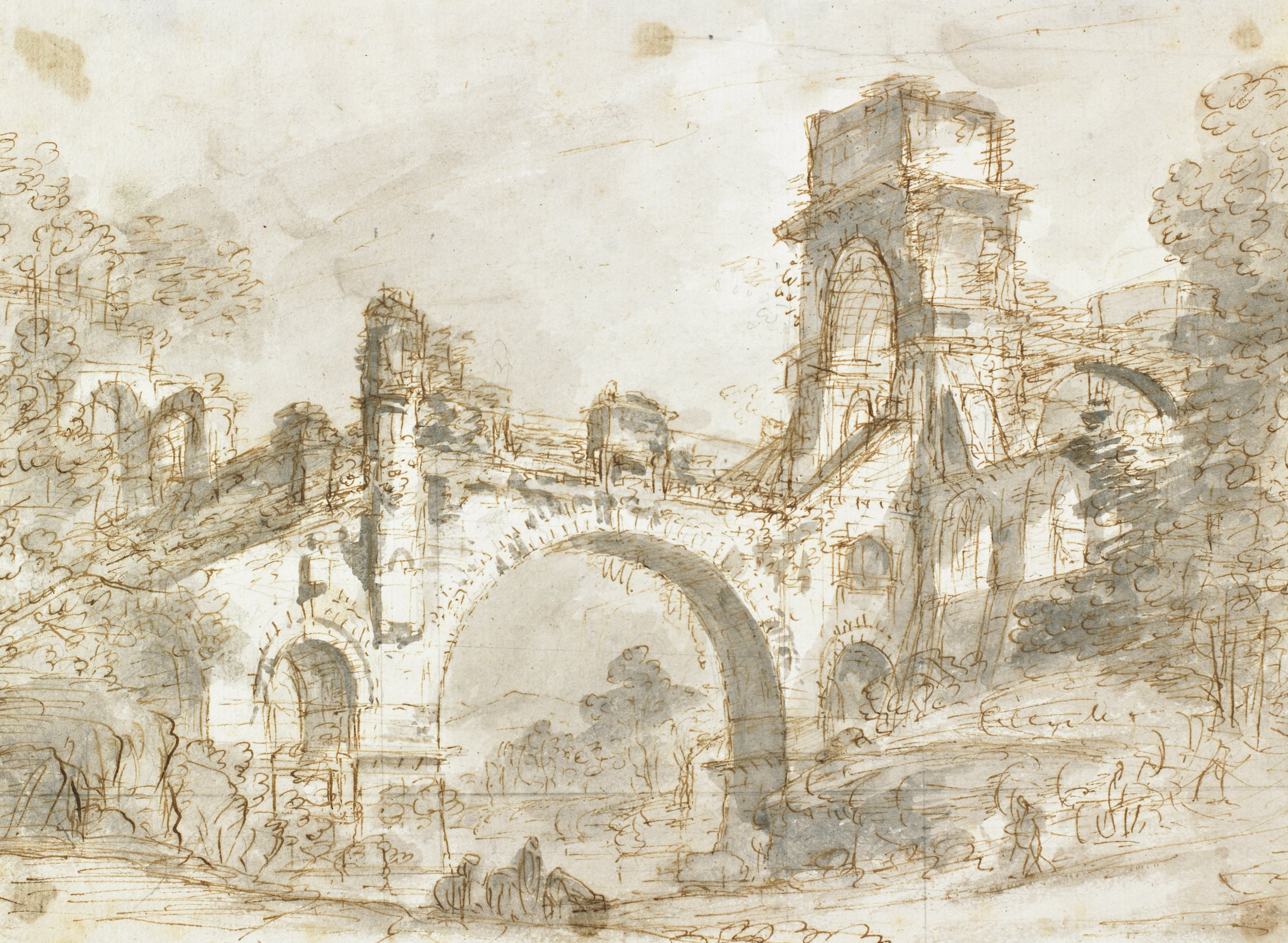 Drawing of a bridge with a triumphal arch and turret, leading into a town. Foliage on both sides of bridge, with quickly sketched figures in foreground.