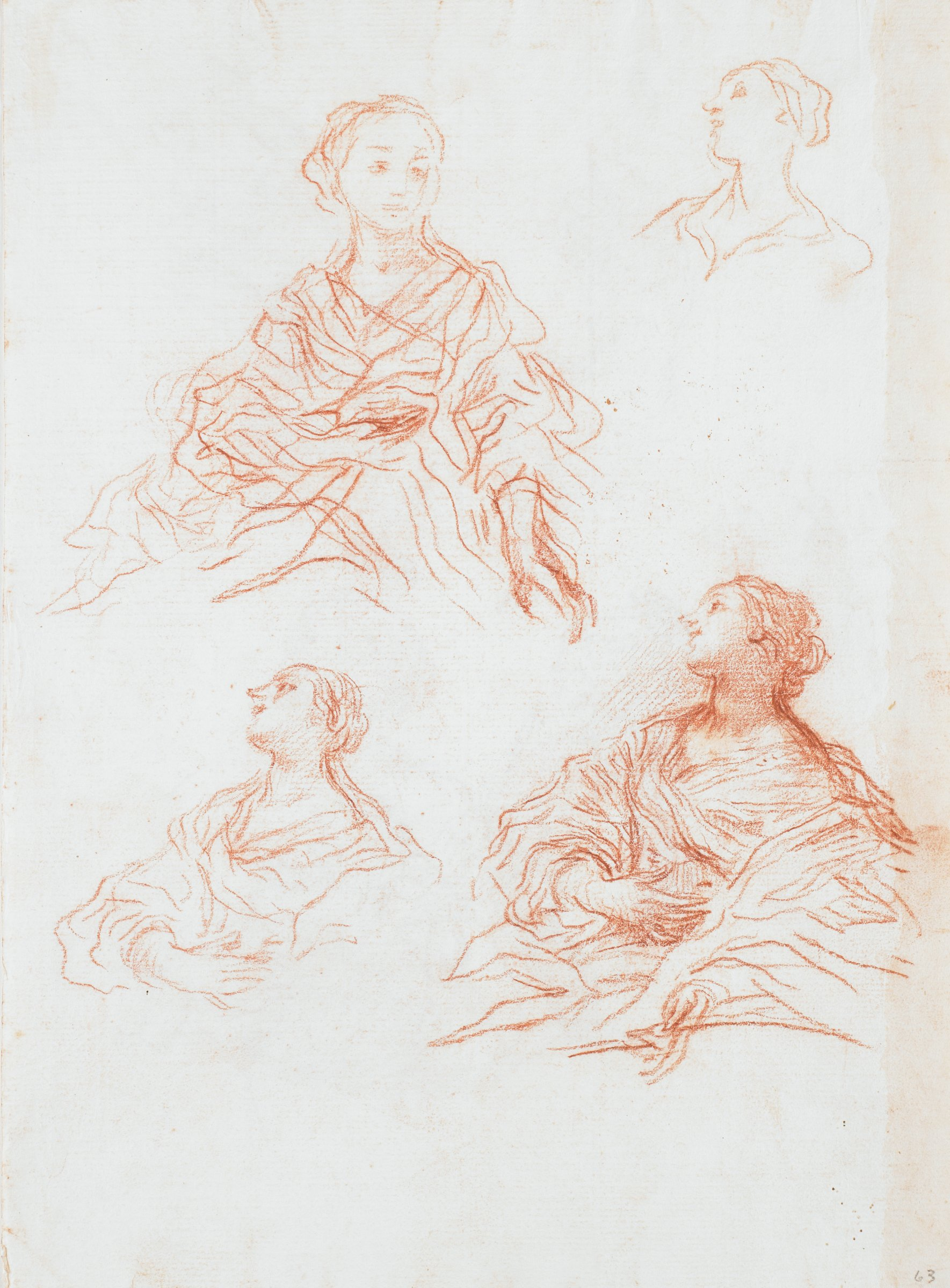 Recto: Four studies of female figures. Strip of pale pink wash (?) down length of right edge, approximately 1.5 cm wide.Verso: Five male studies: two executioner figures, one elderly man with child (Simeon and Christ Child?); two male figures, unidentifiable