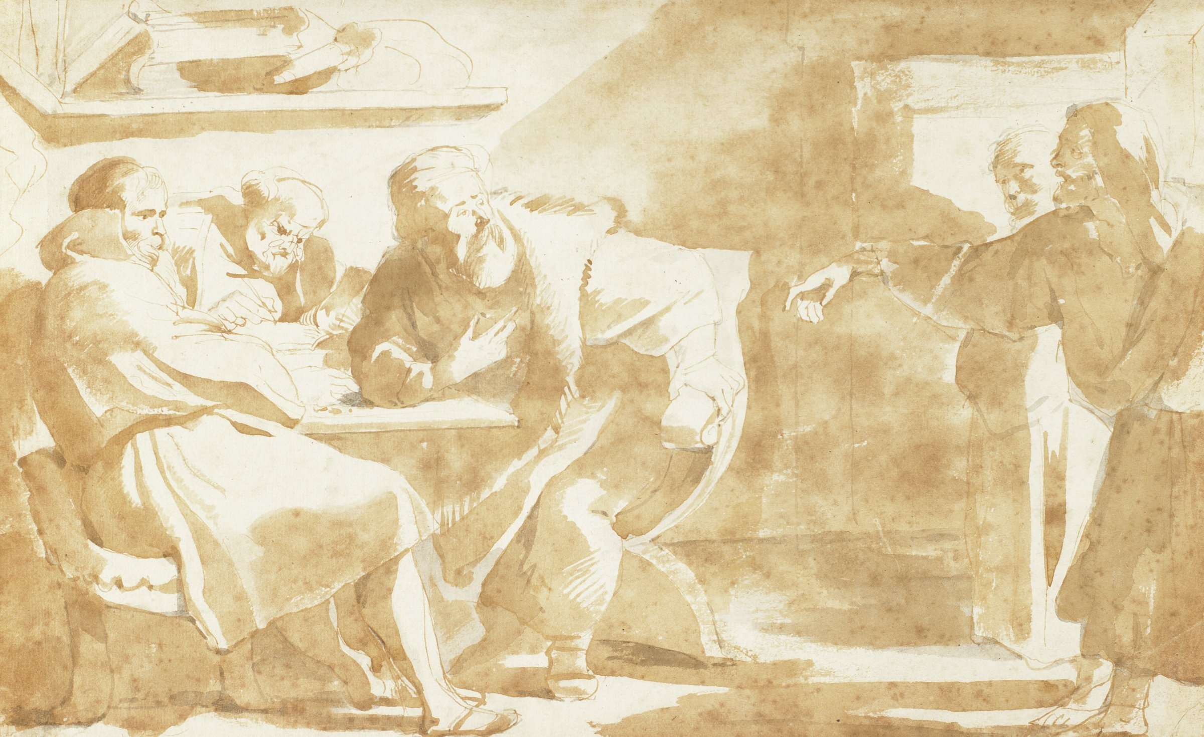 On left half of sheet, three men seated at a table. The left figure toys with coins on the table; middle figure writes in a book; right figure gestures to himself. To the right are two men standing in a doorway, one with an upraised hand pointing to the seated man who gestures questioningly to himself in response.