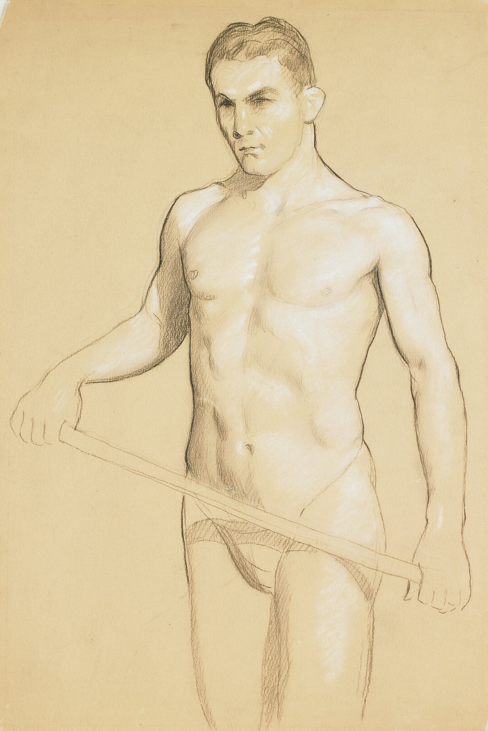 Three-quarters-length male figure study; subject wears loincloth and holds a stick which extends across his waist