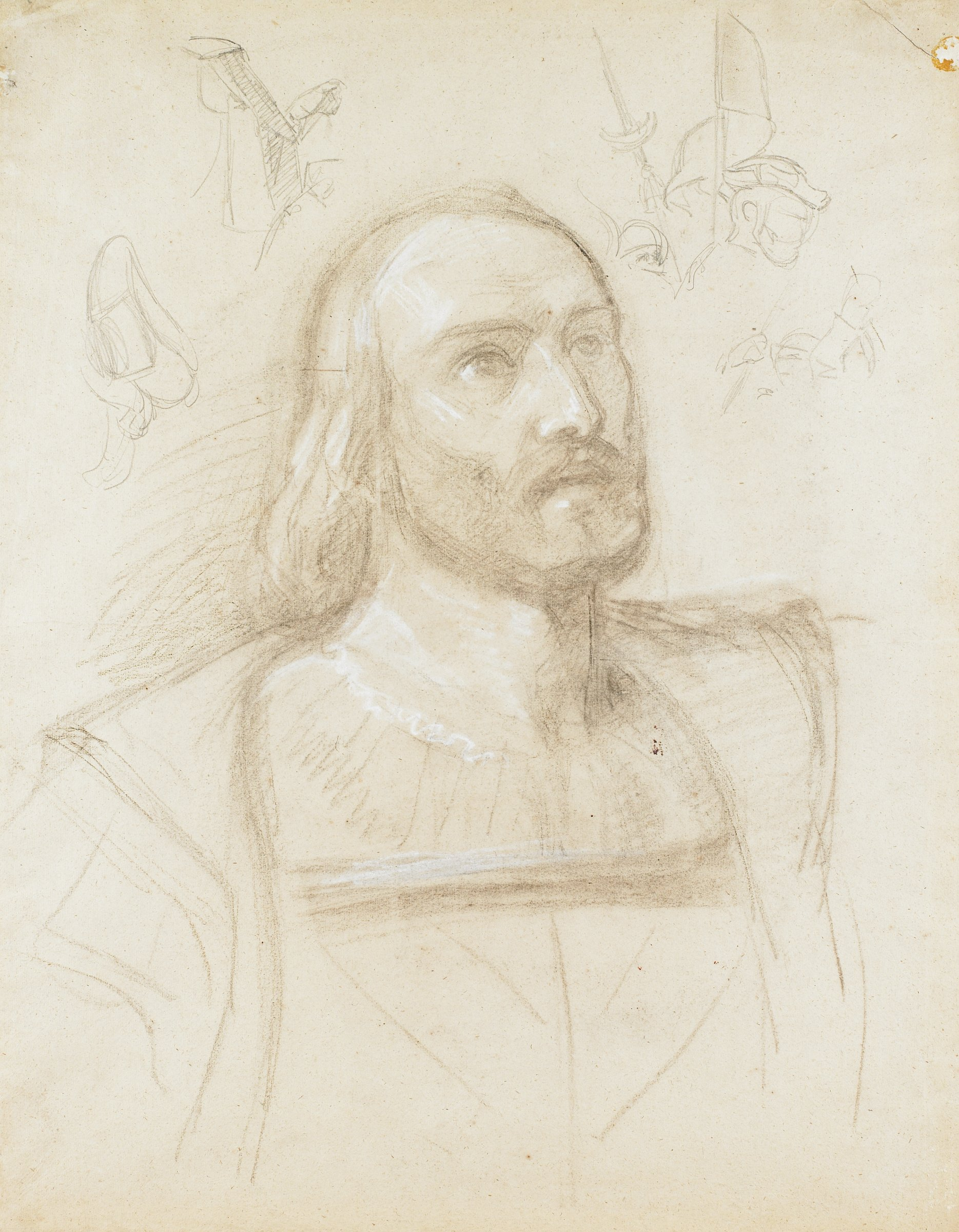 Study for head and bust of Columbus with marginal pencil sketches; verso bears loose, unfinished sketch
