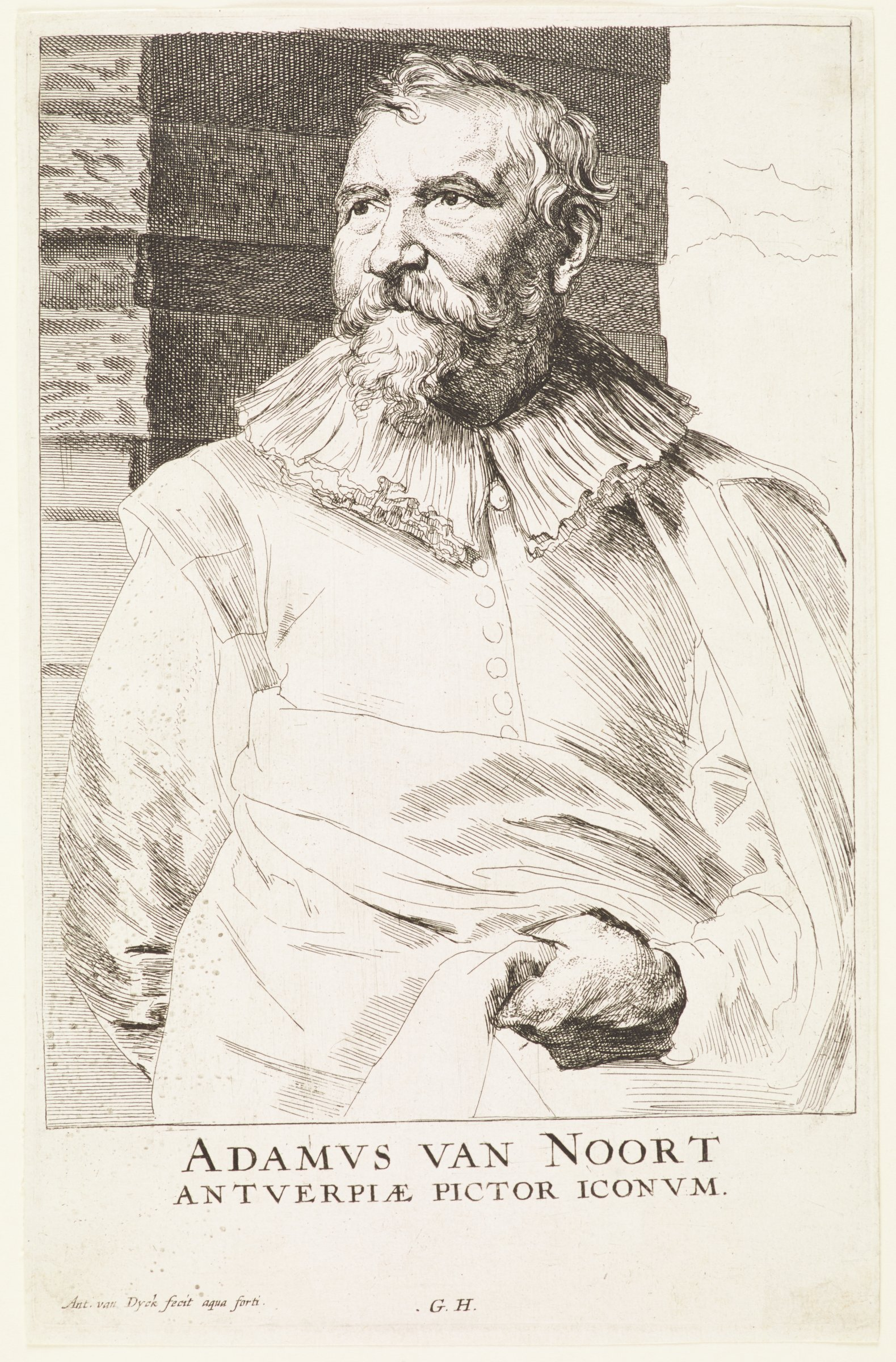 Adam van Noort was a history painter from Antwerp and a teacher of Rubens. He is seen here in portrait from the waist up, looking out to the proper right. He wears a wide frilled collar with a long cloak that he gathers at his stomach with his left hand. He stands against a brick colomn. This is from the Gillis Hendricx edition of the Iconography (Icones Principum Virorum Doctorum, Pictorum Chalcographorum Statuorum nec non Amatorum Pictoriae Artis Numero Centum), 1632-44.