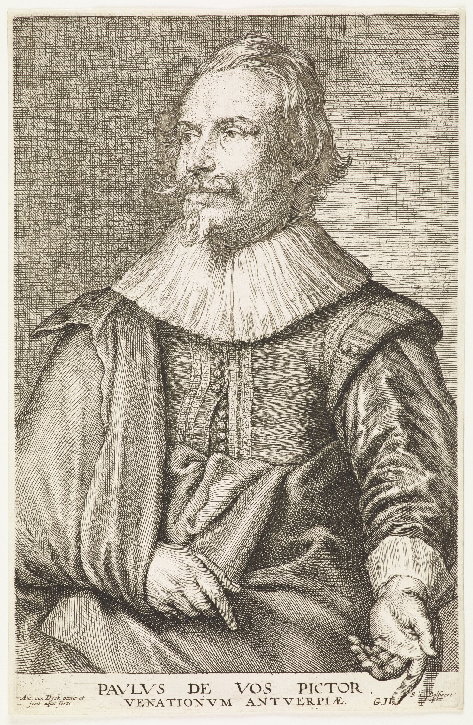 Paul de Vos was a painter. He is seen here in portrait from the waist up. He wears a tall, wide collar with a costume that buttons up the chest and contains a cloak. He holds his left hand out past the image margin into the text field. This is from the Gillis Hendricx edition of the Iconography (Icones Principum Virorum Doctorum, Pictorum Chalcographorum Statuorum nec non Amatorum Pictoriae Artis Numero Centum), 1632-44.