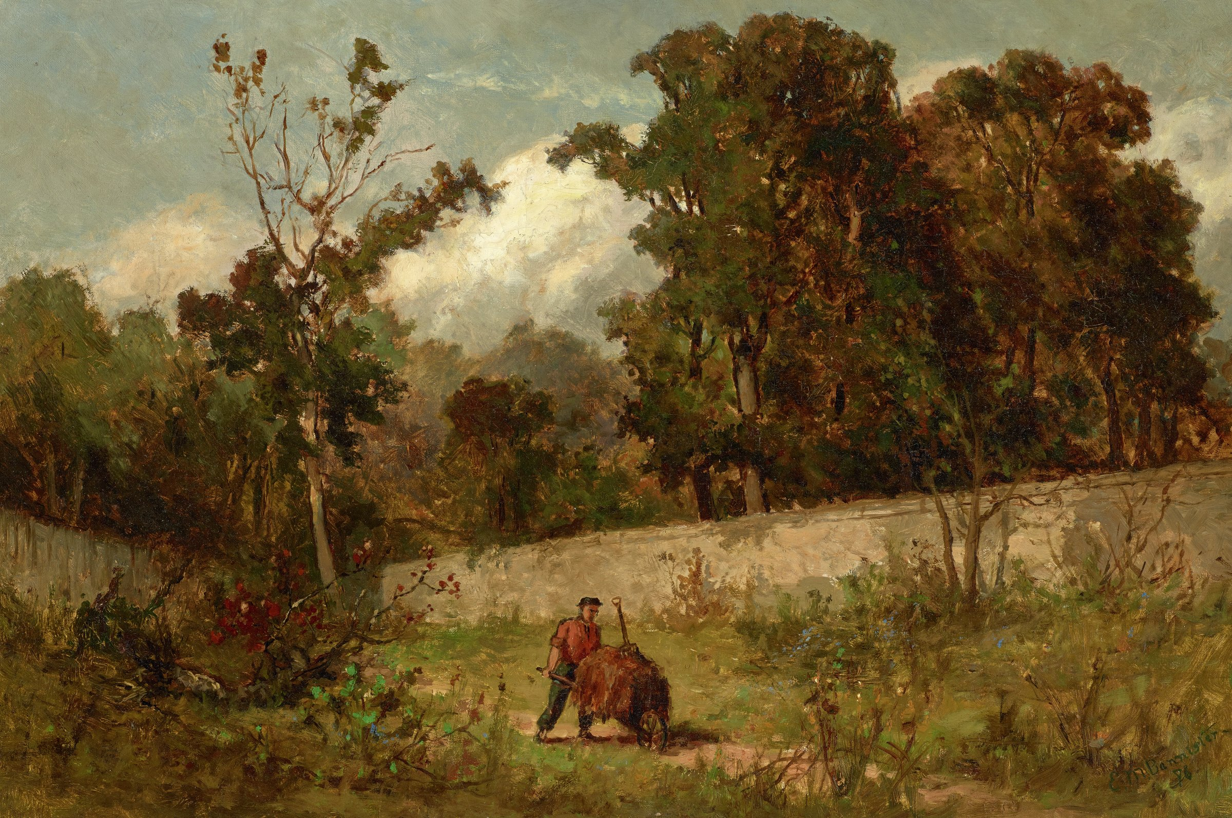 In the center foreground, a man wearing a hat, red shirt, and blue trousers pushes a wheelbarrow loaded with hay and a pitchfork.  The solitary figure walks along a path lined with grass and bushes.  A stone wall is visible in the middleground, with tall, full deciduous trees populating the background behind the wall.  Typical of Bannister's work, and Barbizon pictures in general, various shades of green and brown comprise the overall palette.