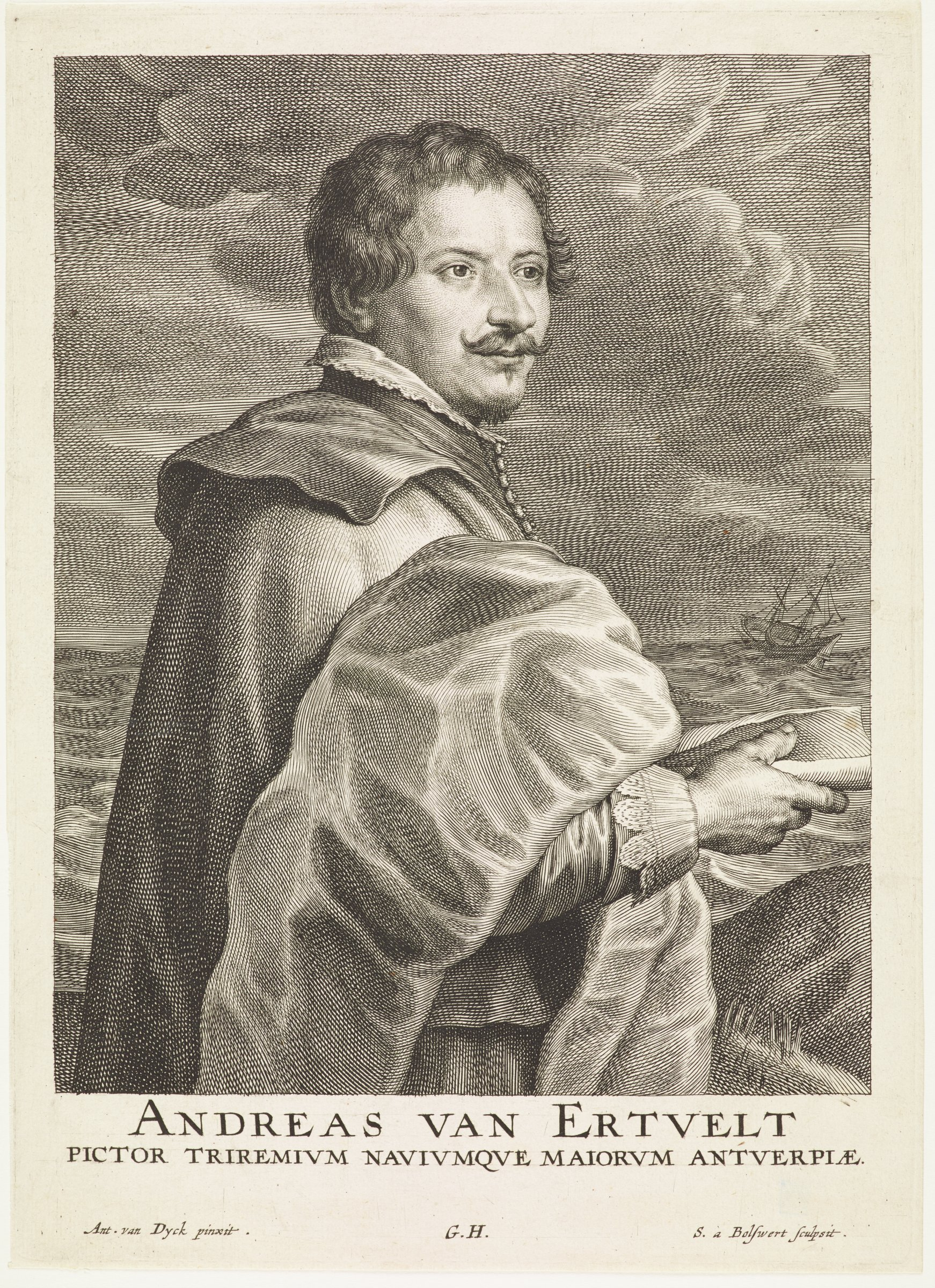Eertvelt was a marine painter. He is seen here in portrait from the waist up. He is turned to the proper left with his head turned, facing almost front. Behind him is a scene of the ocean with a ship and voluptuous clouds. This is from the Gillis Hendricx edition of the Iconography (Icones Principum Virorum Doctorum, Pictorum Chalcographorum Statuorum nec non Amatorum Pictoriae Artis Numero Centum), 1632-44.