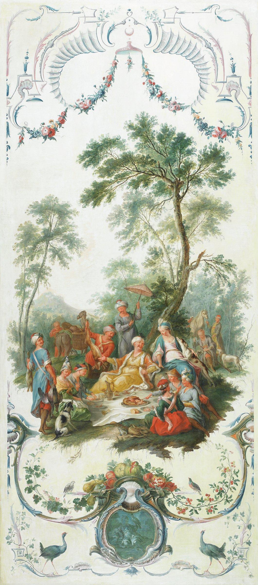 Le repas froid pendant la chasse (The Hunt Picnic), Christophe Huet, oil on canvas