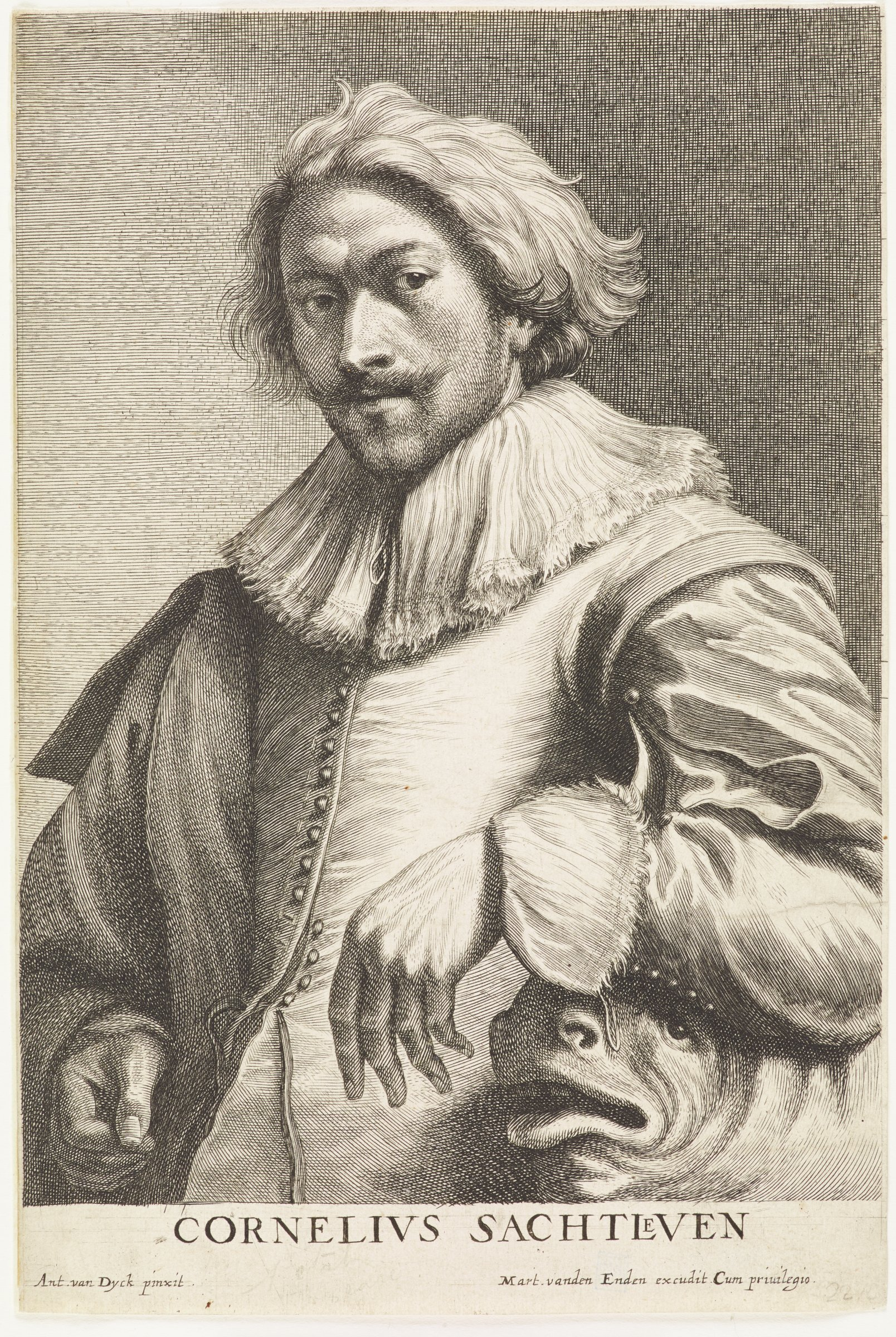 Saftleven was a painter. He is seen here in portrait from the waist up. His left arm rests on an animal-like creature as he looks out at the viewer. He has wavy hair and wears a wide, frilled collar. This image is from the Martinus vanden Enden edition of the Iconography that was printed during van Dyck's lifetime.
