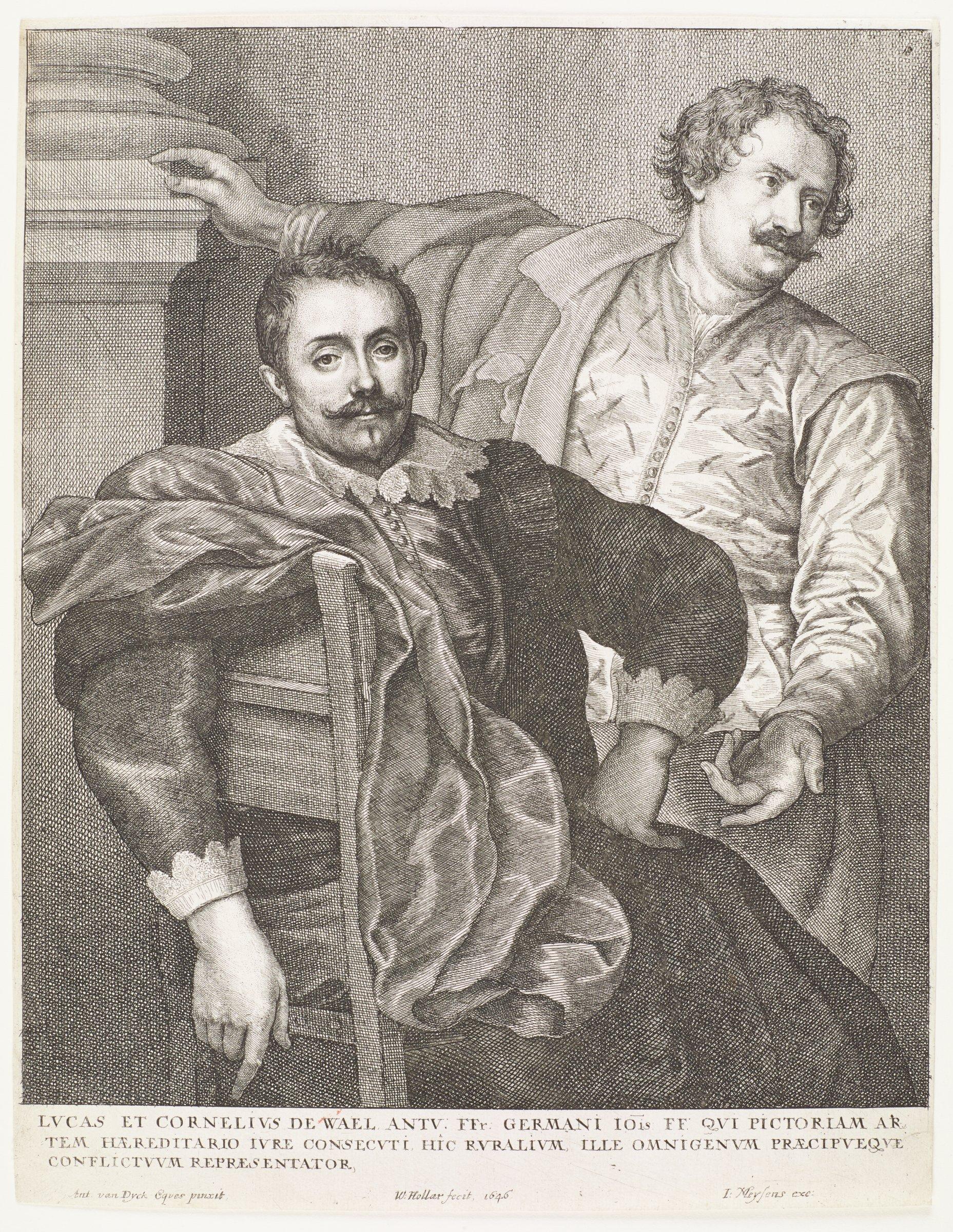 Lucas and Cornelius de Wael were painters. They are seen here in portrait. This is from the Gillis Hendricx edition of the Iconography (Icones Principum Virorum Doctorum, Pictorum Chalcographorum Statuorum nec non Amatorum Pictoriae Artis Numero Centum), 1632-44.