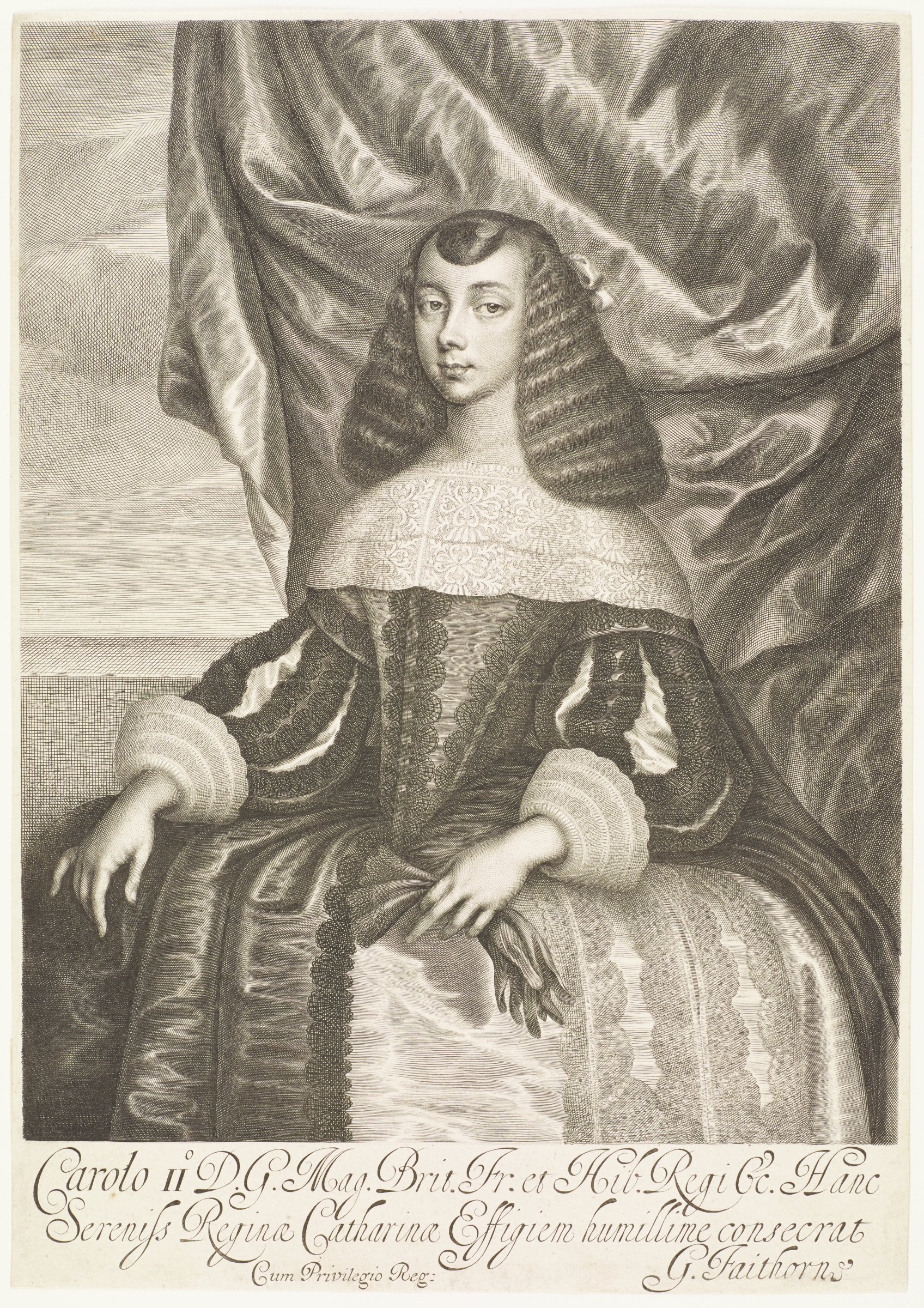 Catherine of Braganza (1638-1705) was the daughter of King John IV of Portugal. In May 1662 she married King Charles II of England.