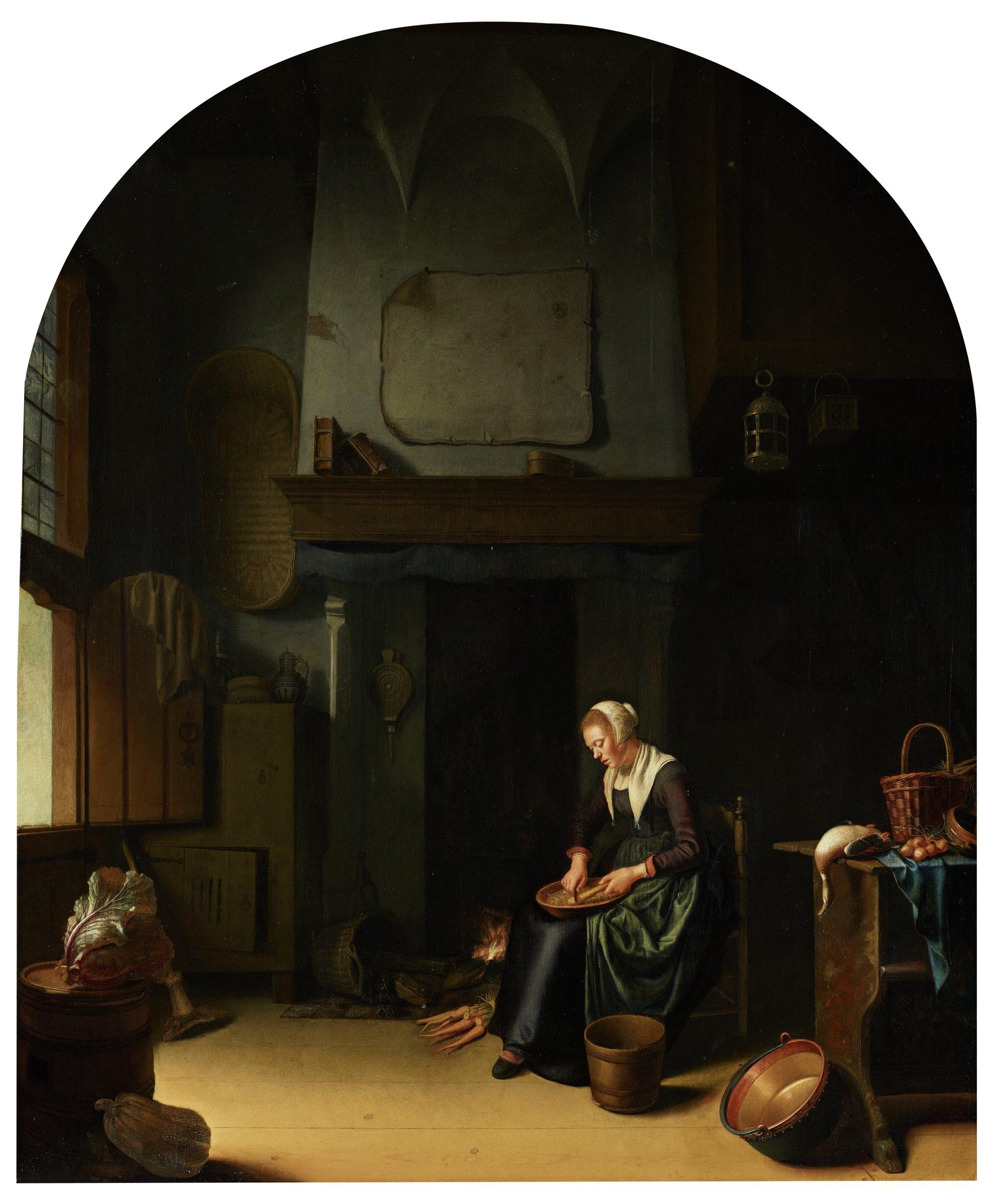A Kitchen Interior, Unknown artist, Dutch, oil on panel