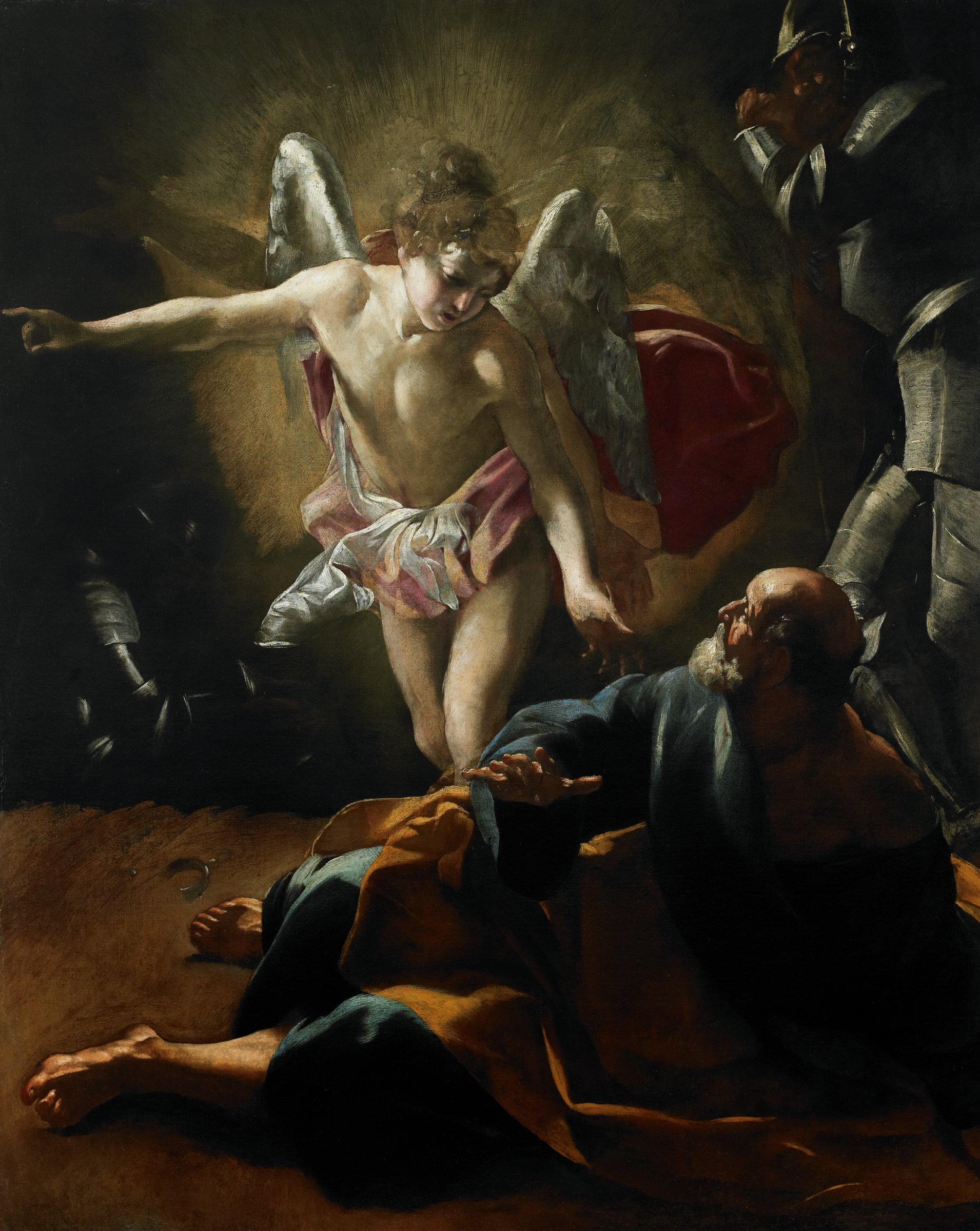 In the center of the painting an angel has just arrived in a blaze of light with garments billowing behind. As he touches Peter's shoulder with his left hand, he points with his right to gesture outside of the picture plane. In the upper right a soldier shields his eyes from the angel's light, while another soldier is just visible in the far left background. The painting is unfinished, with pentimenti revealing the artist's many compositional changes.