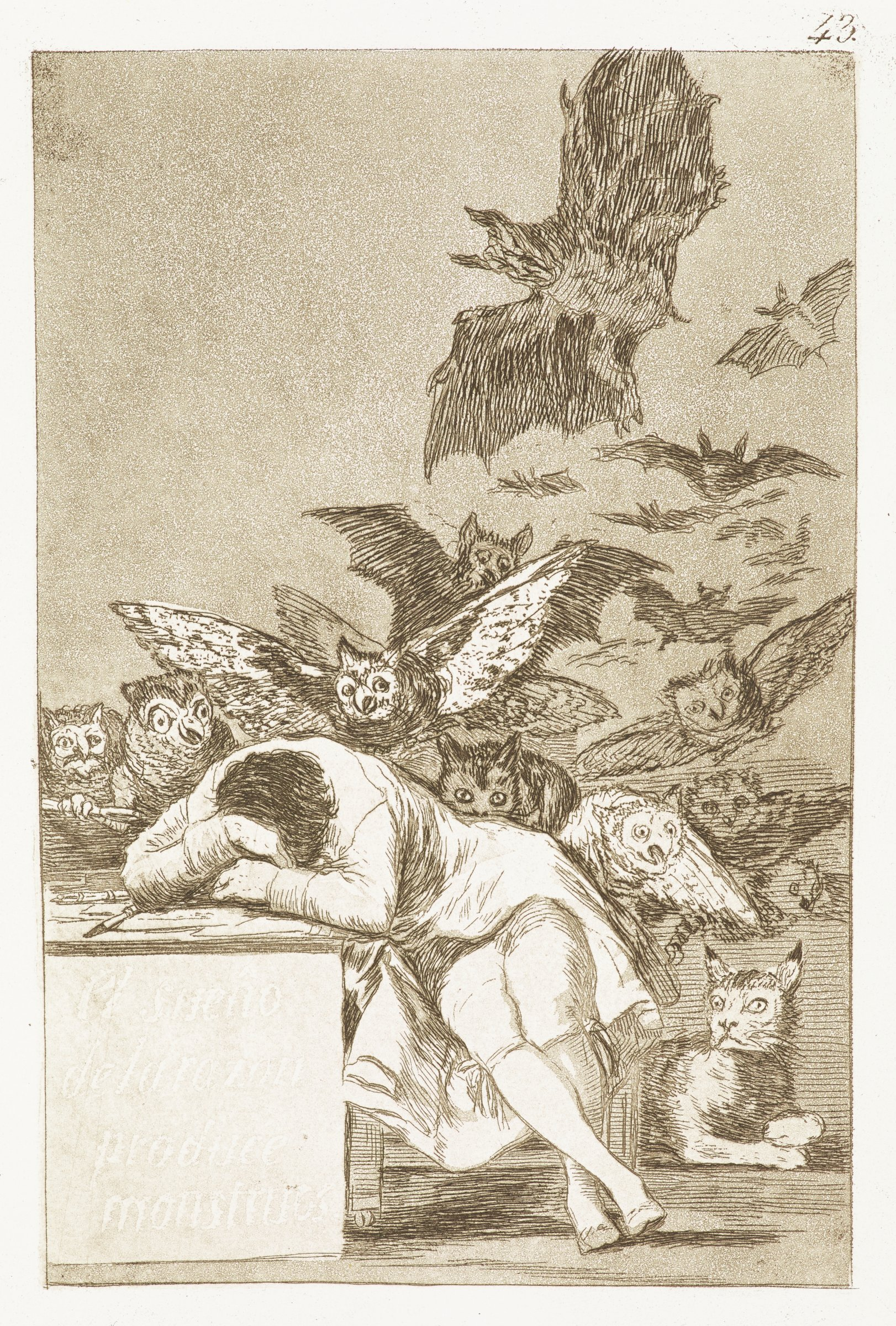 A man falls asleep on a desk. Various creatures fly in a swarm behind him, including bats and owls. A lynx lays in the floor near his feet.
