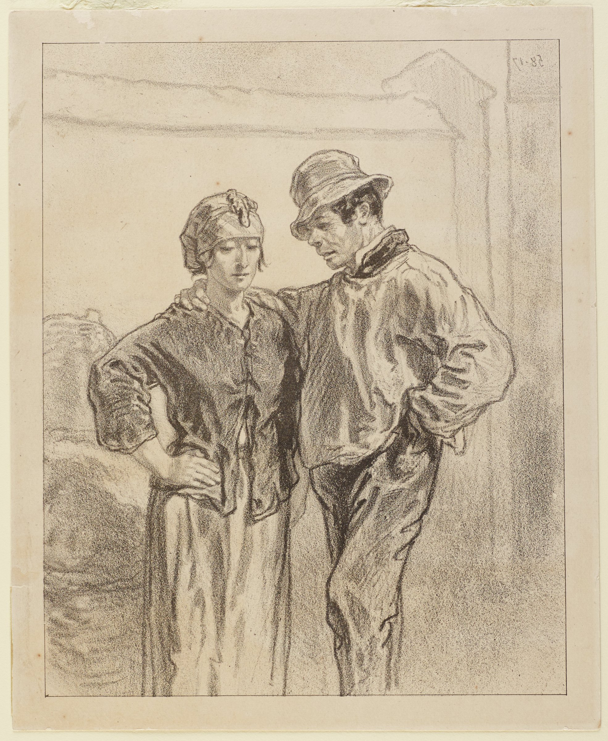 A couple stands in the center of the composition. One arm of each figure is wrapped around the other while the other arm sits on their hips. On verso is a print of young soldier in uniform.