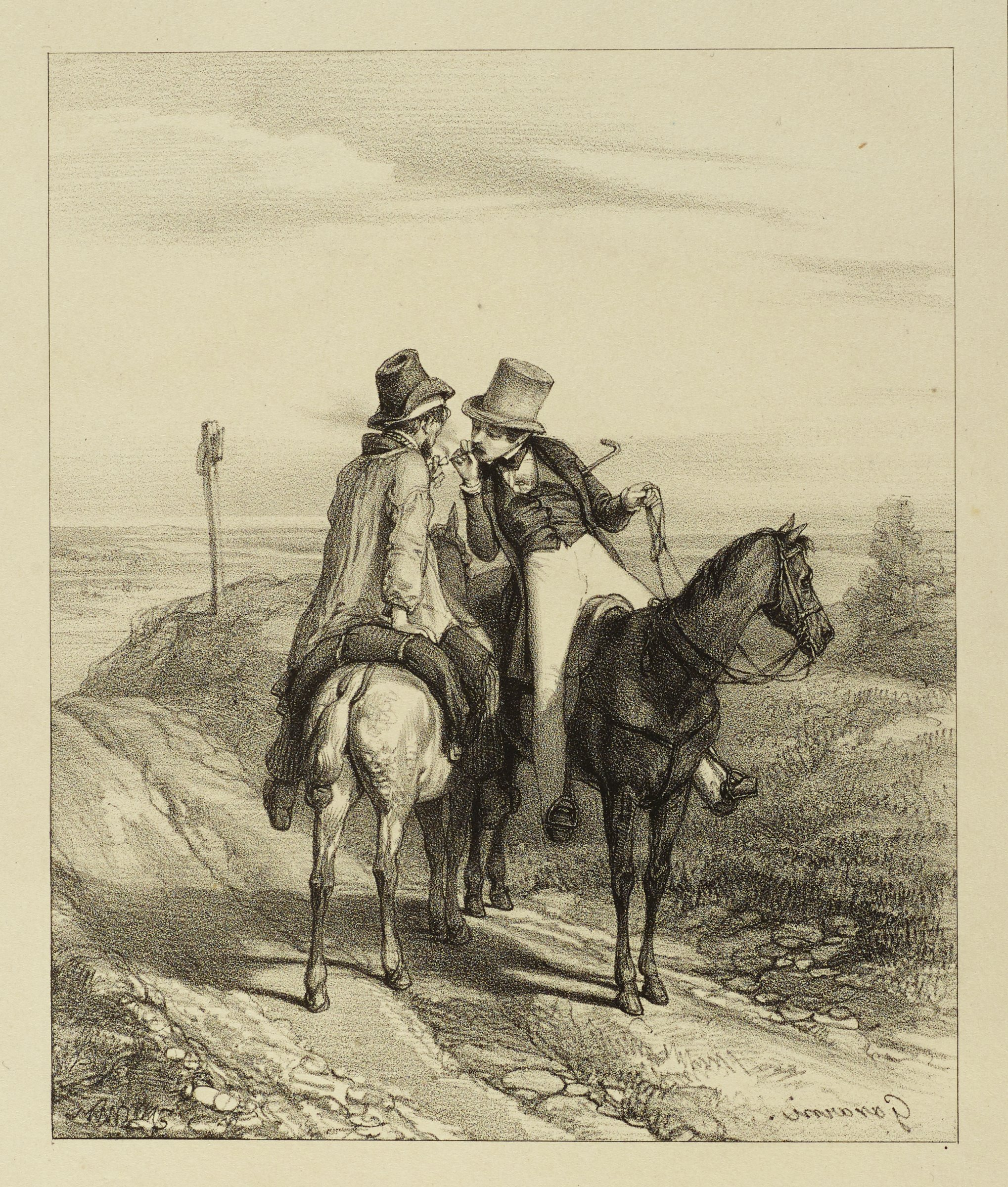 Two gentlemen on horses that are traveling in opposite directions stop in the middle of a road. One man offers a light to the other.