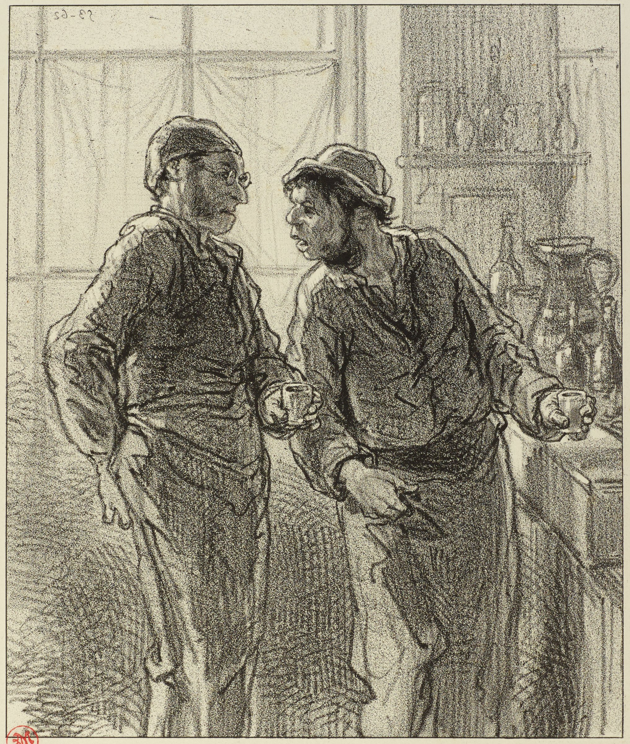 Two men stand in a kitchen in conversation. Both men are holding small cups in their left hands.