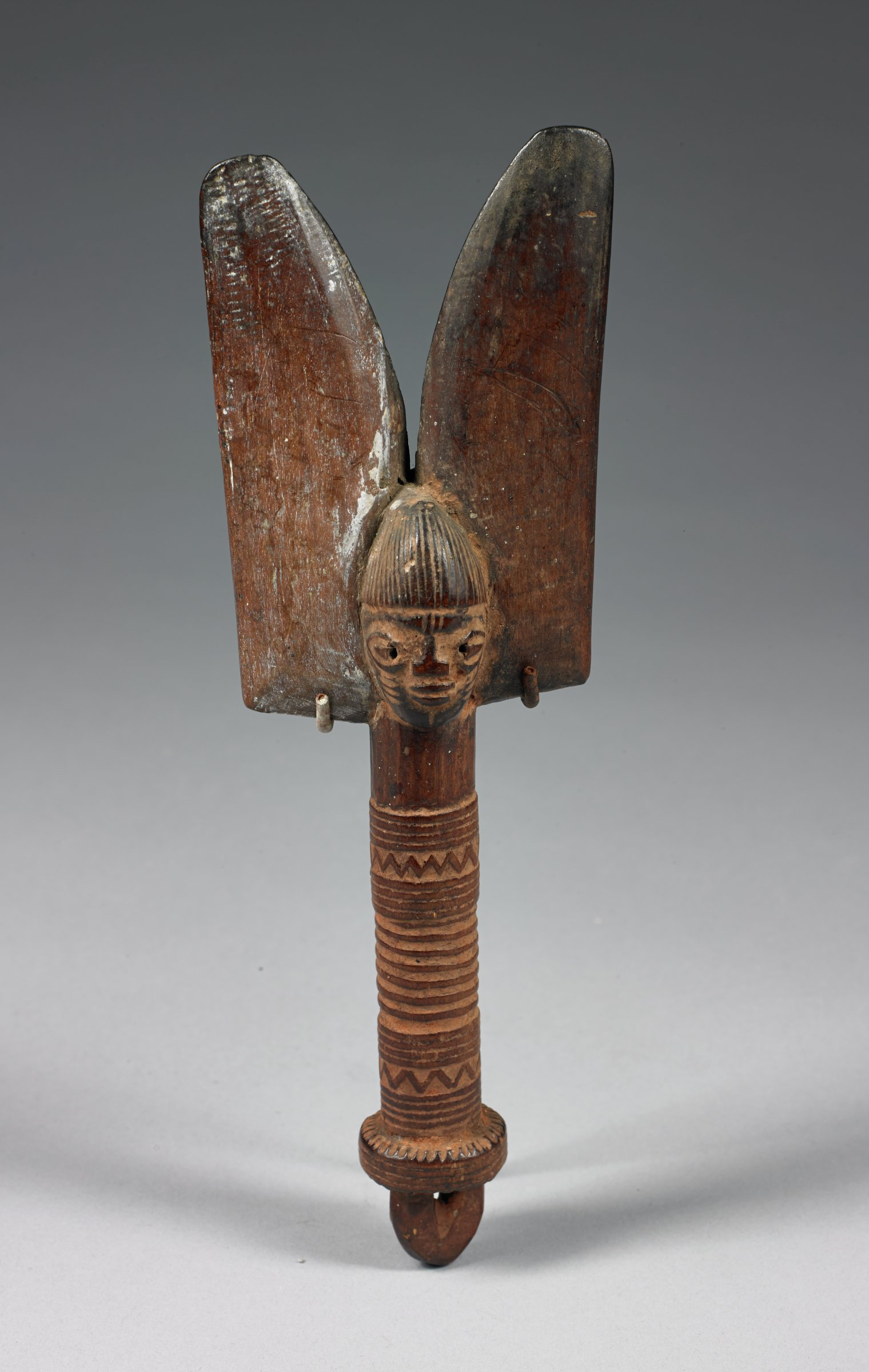 Staff for priest of Shango (oshe Shango), Yoruba people, Nigeria, African, carved wood, powdered camwood, metal