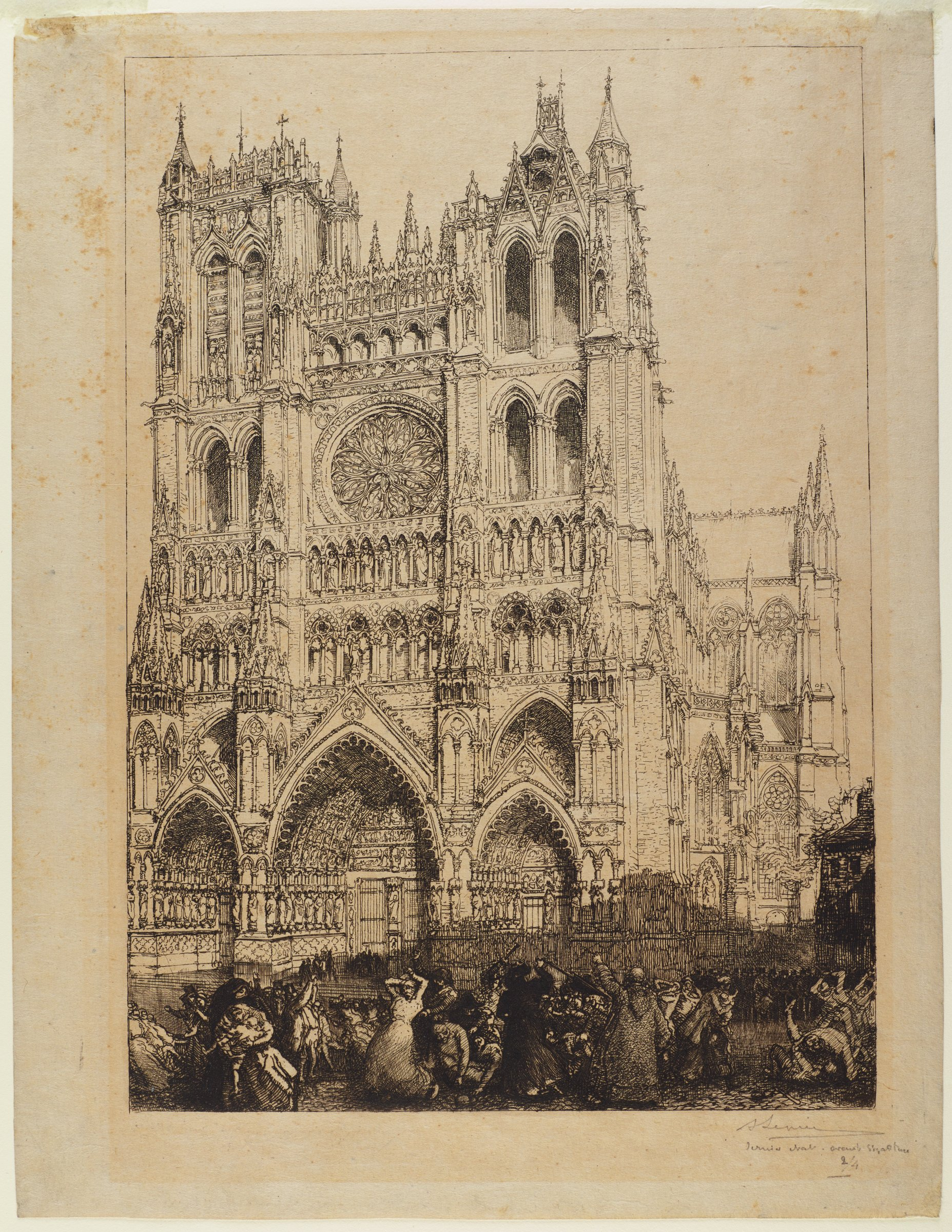 Amiens Cathedral, shown at an angle, stands brightly behind a rioting crowd that is primariy shown in shadow.