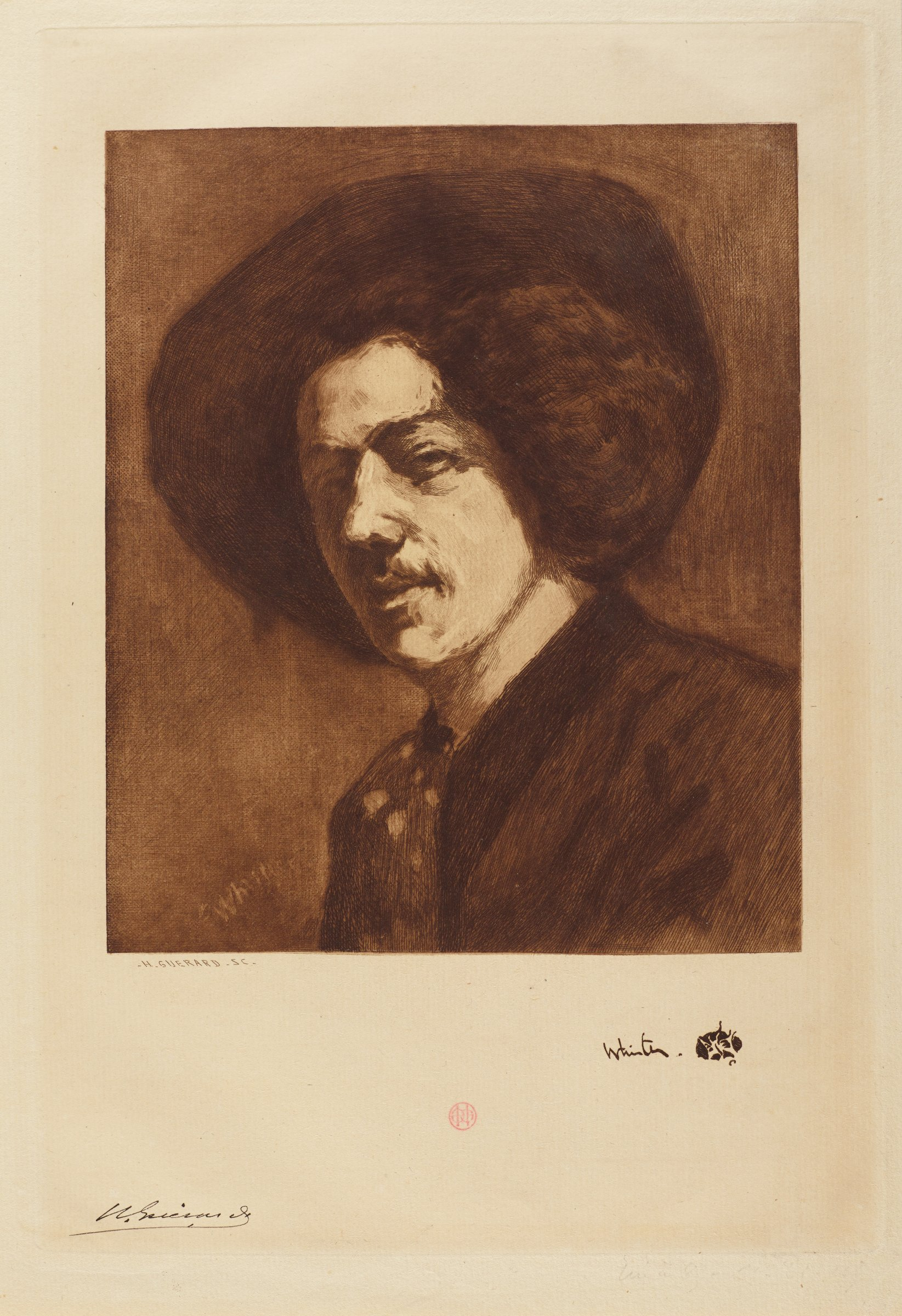 Artist James Whistler is shown here in a bust portait wearing a large brimmed hat.